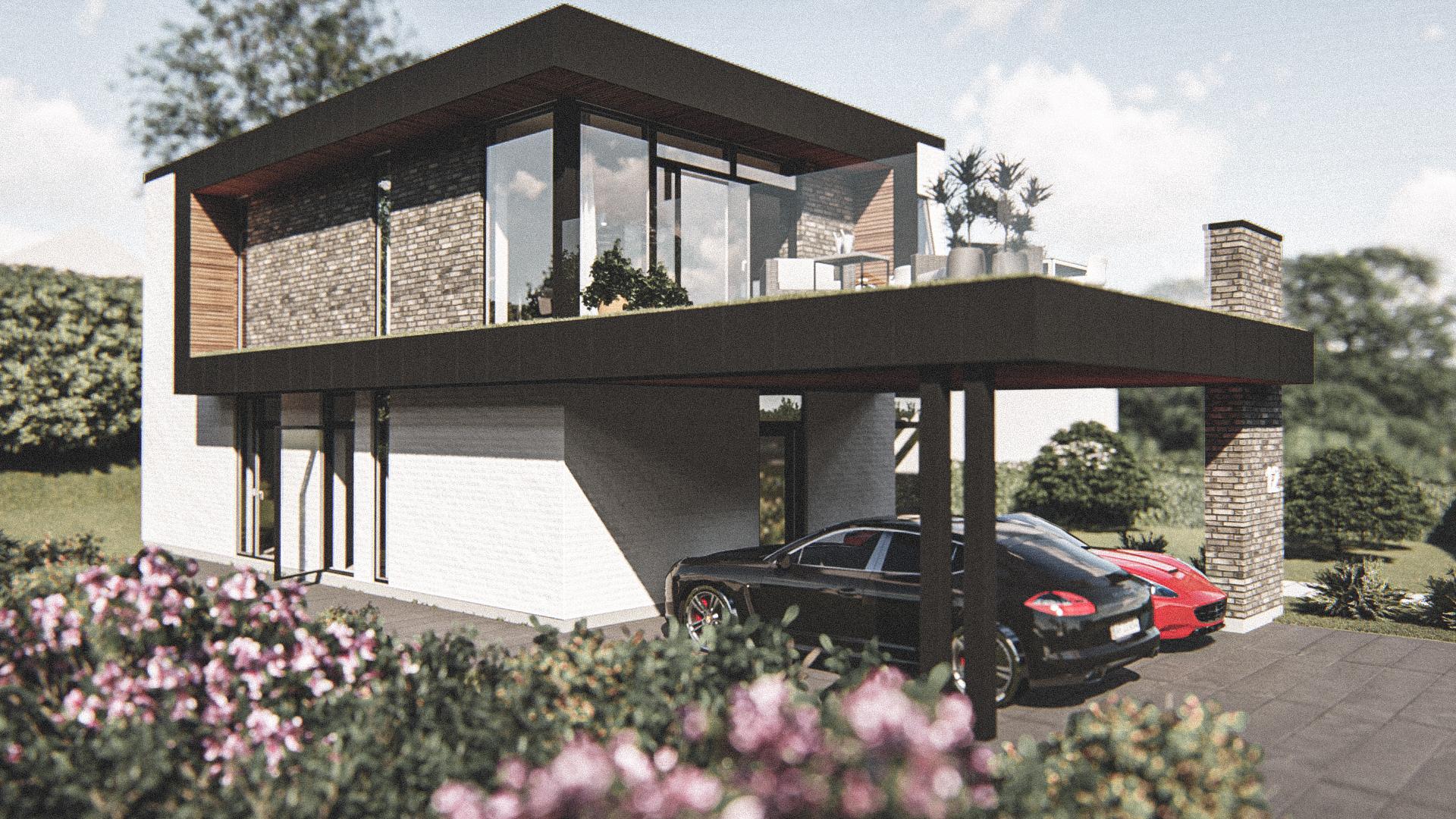 Billede af Dansk arkitekttegnet 2 plan villa af arkitektfirmaet m2plus, i Kolding på 200 kvartratmeter.