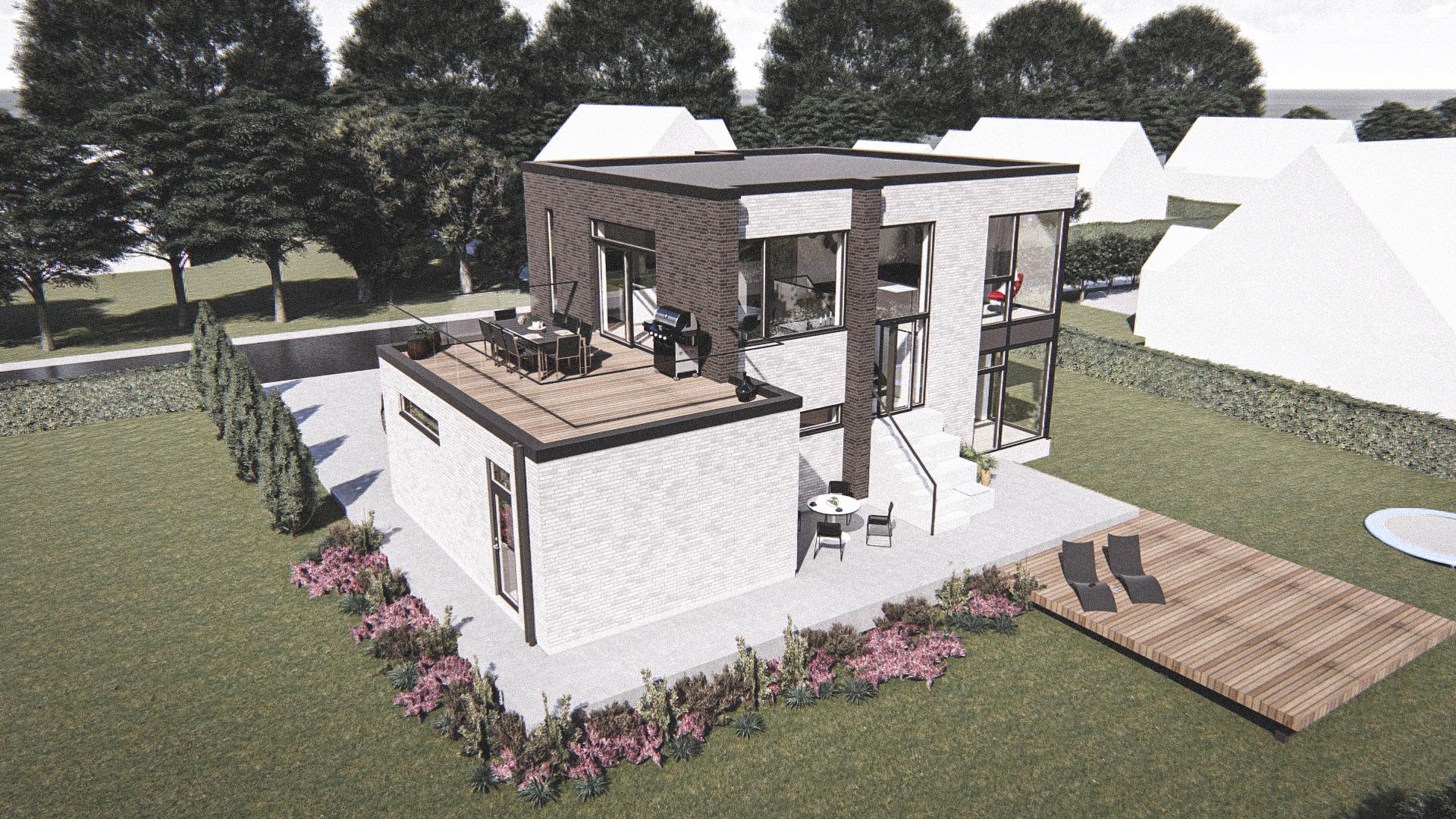 Billede af Dansk arkitekttegnet 2 plan villa af arkitektfirmaet m2plus, i Karrebæksminde på 175 kvartratmeter.