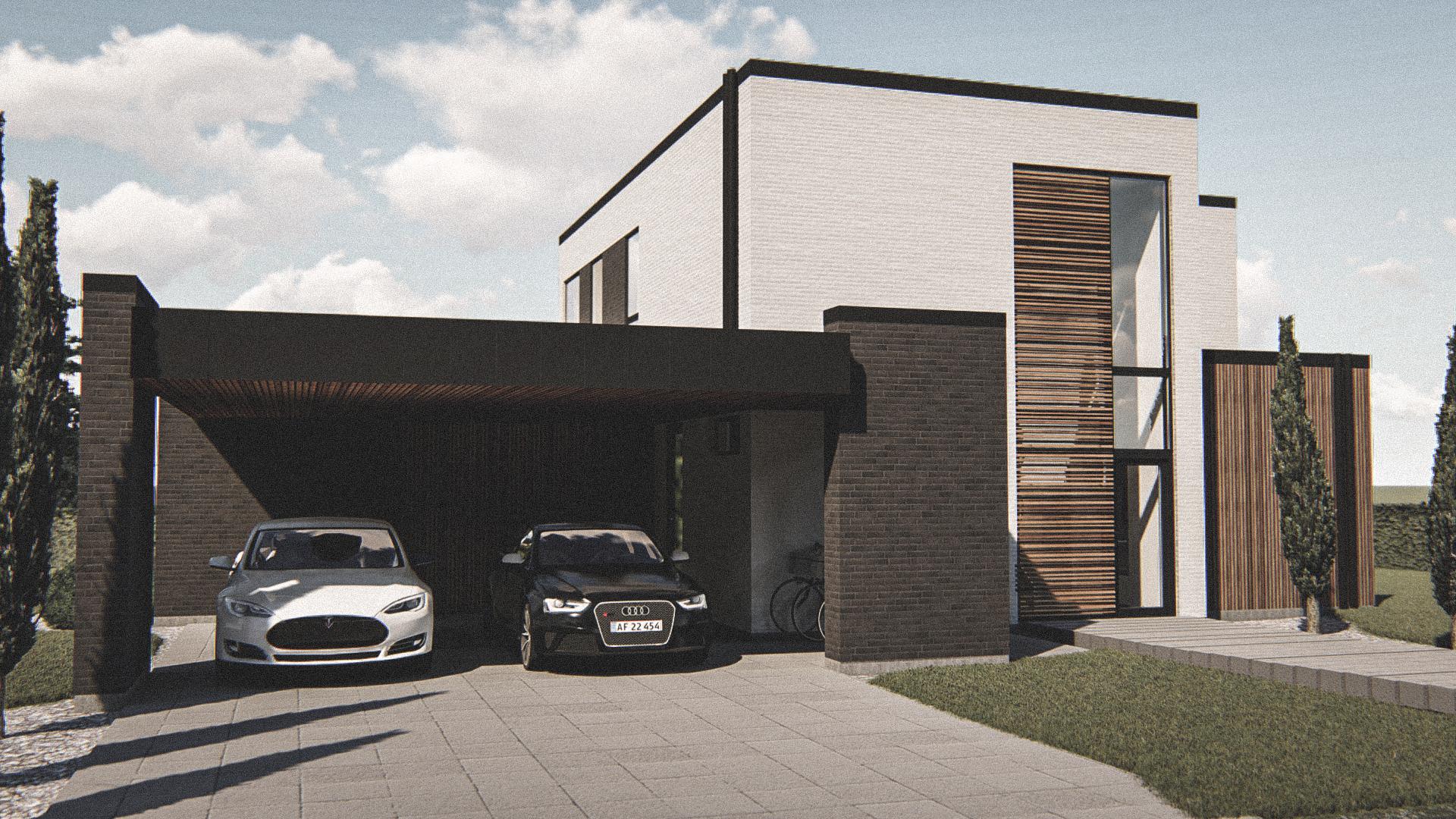 Billede af Dansk arkitekttegnet 2 plan villa af arkitektfirmaet m2plus, i Solbjerg på 191 kvartratmeter.