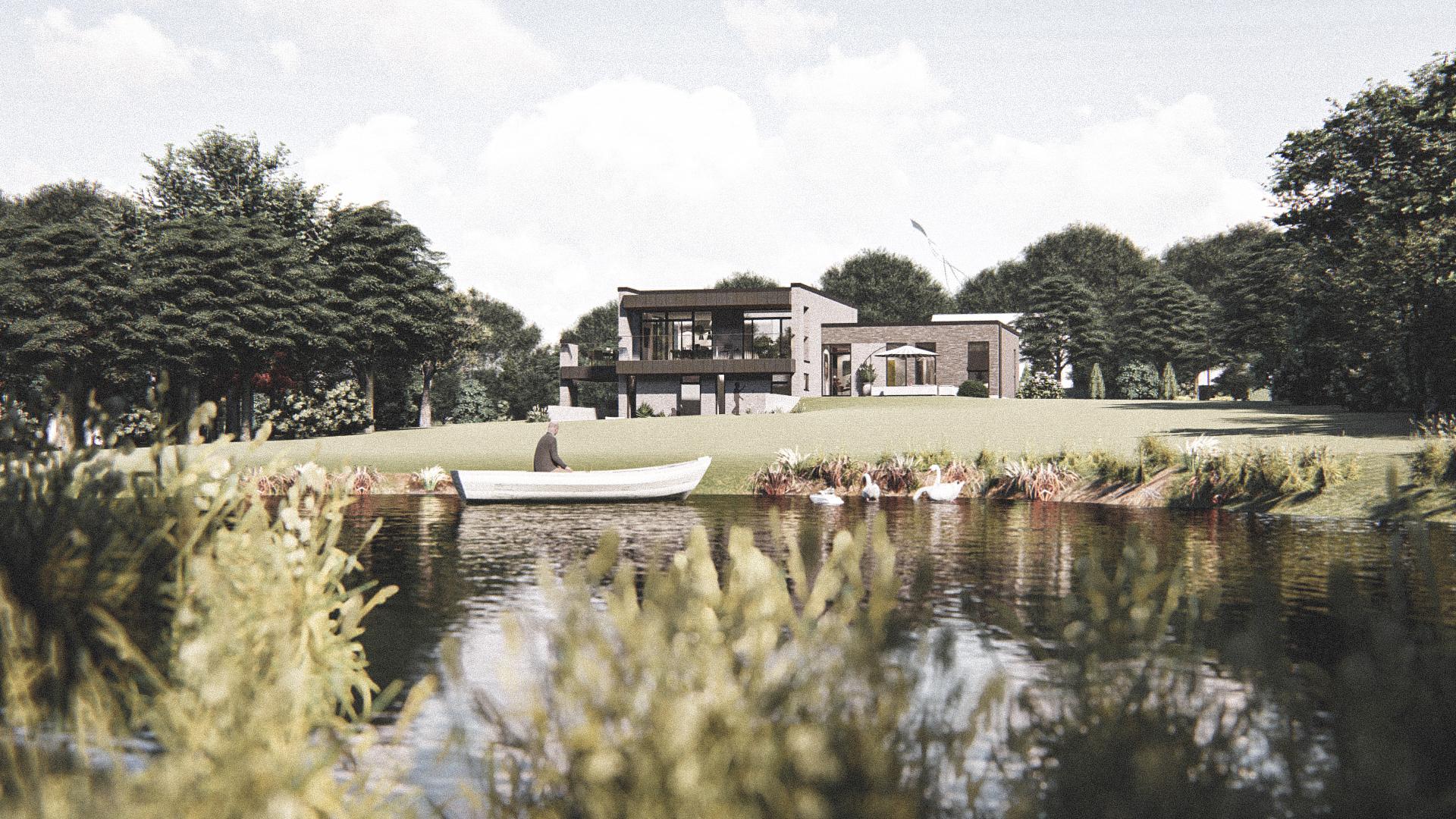 Billede af Dansk arkitekttegnet parterreplan villa af arkitektfirmaet m2plus, i Næstved på 260 kvartratmeter.