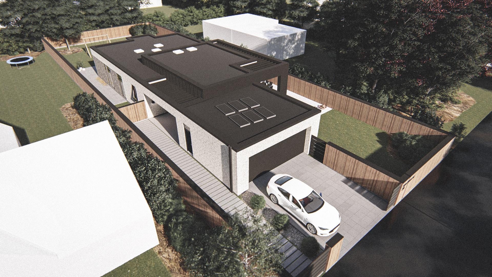 Billede af Dansk arkitekttegnet 1 plan villa af arkitektfirmaet m2plus, i Risskov på 218 kvartratmeter.
