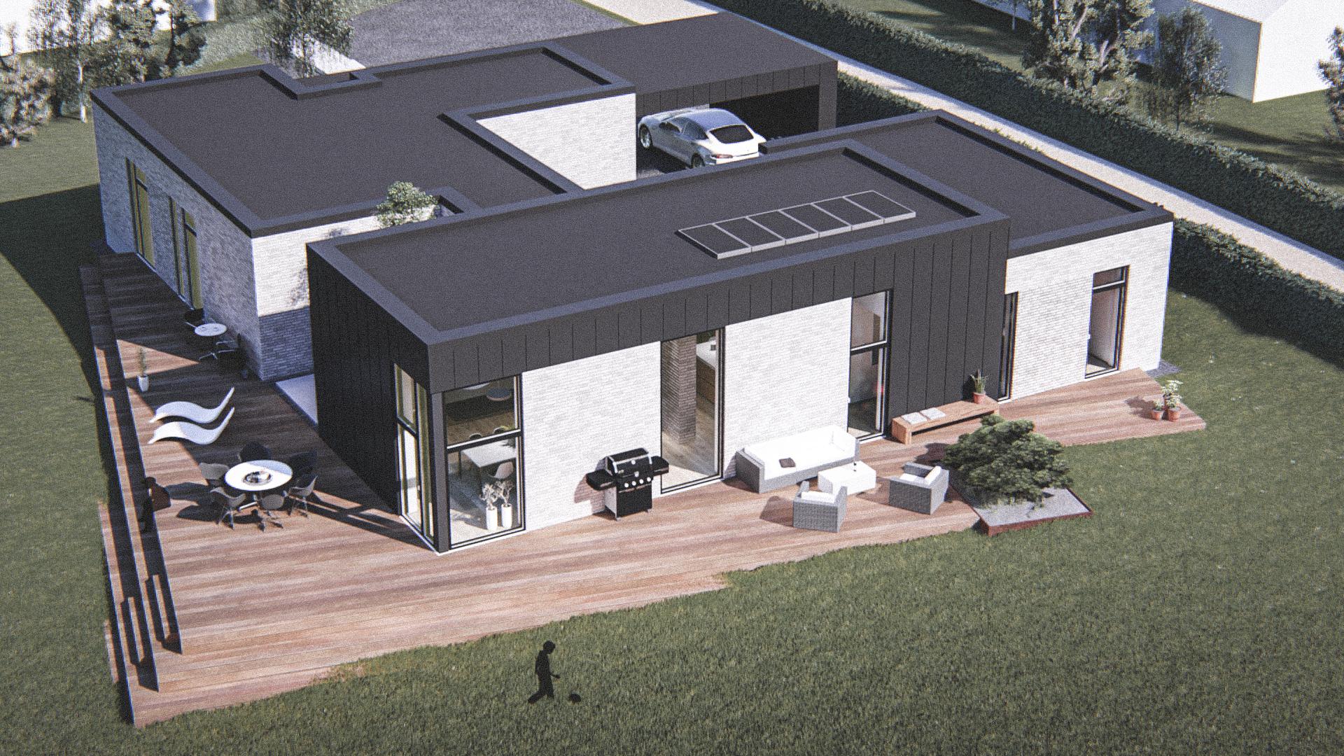 Billede af Dansk arkitekttegnet 1 plan villa af arkitektfirmaet m2plus, i Støvring på 237 kvartratmeter.