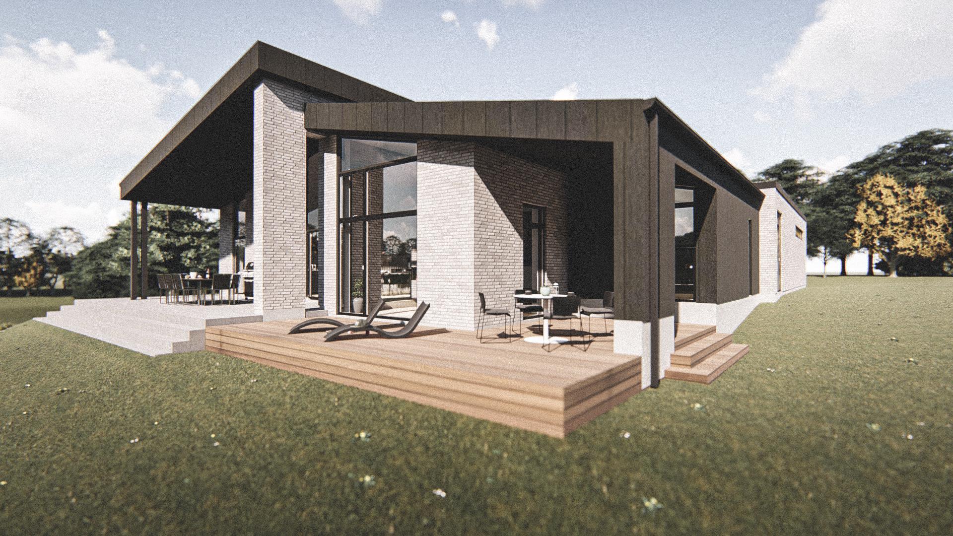 Billede af Dansk arkitekttegnet 1 plan villa af arkitektfirmaet m2plus, i Vestbjerg på 220 kvartratmeter.