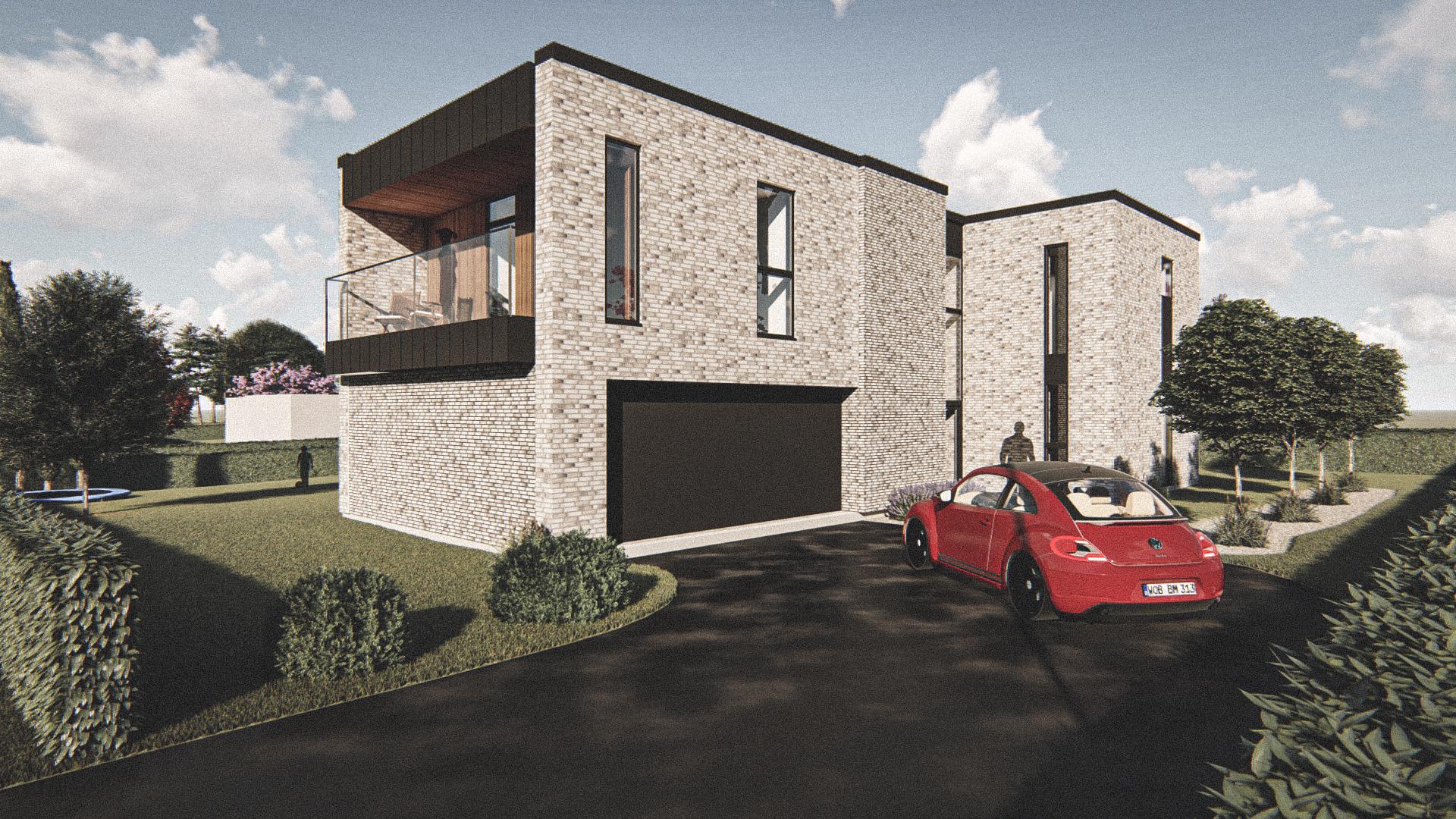 Billede af Dansk arkitekttegnet 3 plan villa af arkitektfirmaet m2plus, i Randers på 266 kvartratmeter.