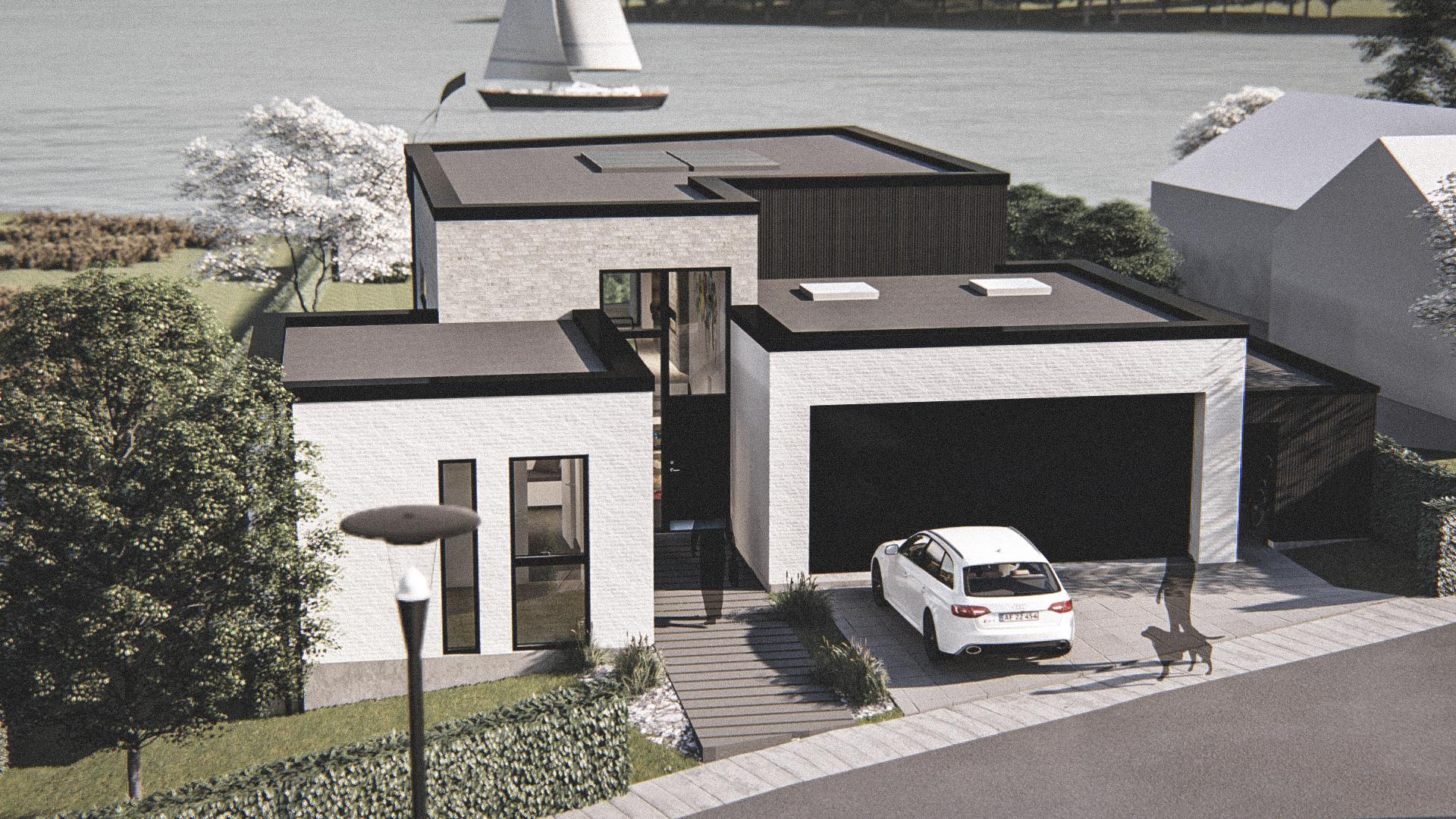 Billede af Dansk arkitekttegnet 3 plan villa af arkitektfirmaet m2plus, i Silkeborg på 211 kvartratmeter.