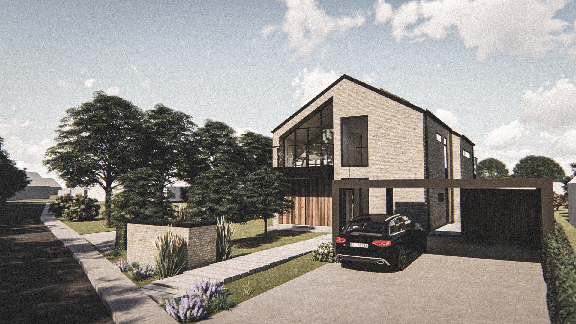 Billede af Dansk arkitekttegnet 2 plan villa af arkitektfirmaet m2plus, i Silkeborg på 220 kvartratmeter.