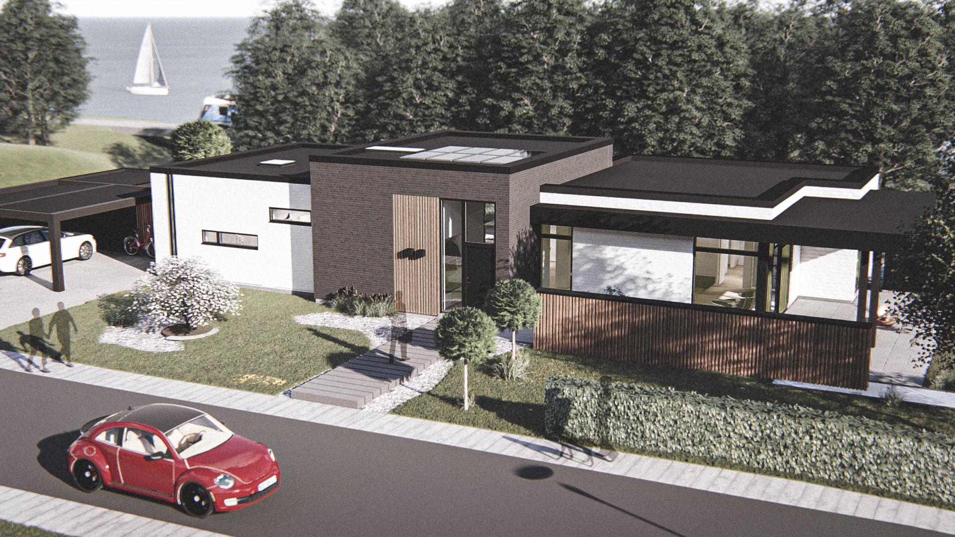 Billede af Dansk arkitekttegnet 1 plan villa af arkitektfirmaet m2plus, i Viborg på 179 kvartratmeter.
