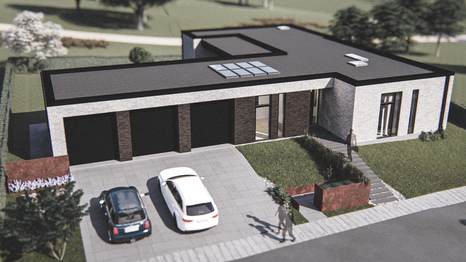 Billede af Dansk arkitekttegnet 1 plan villa af arkitektfirmaet m2plus, i Brønderslev på 208 kvartratmeter.