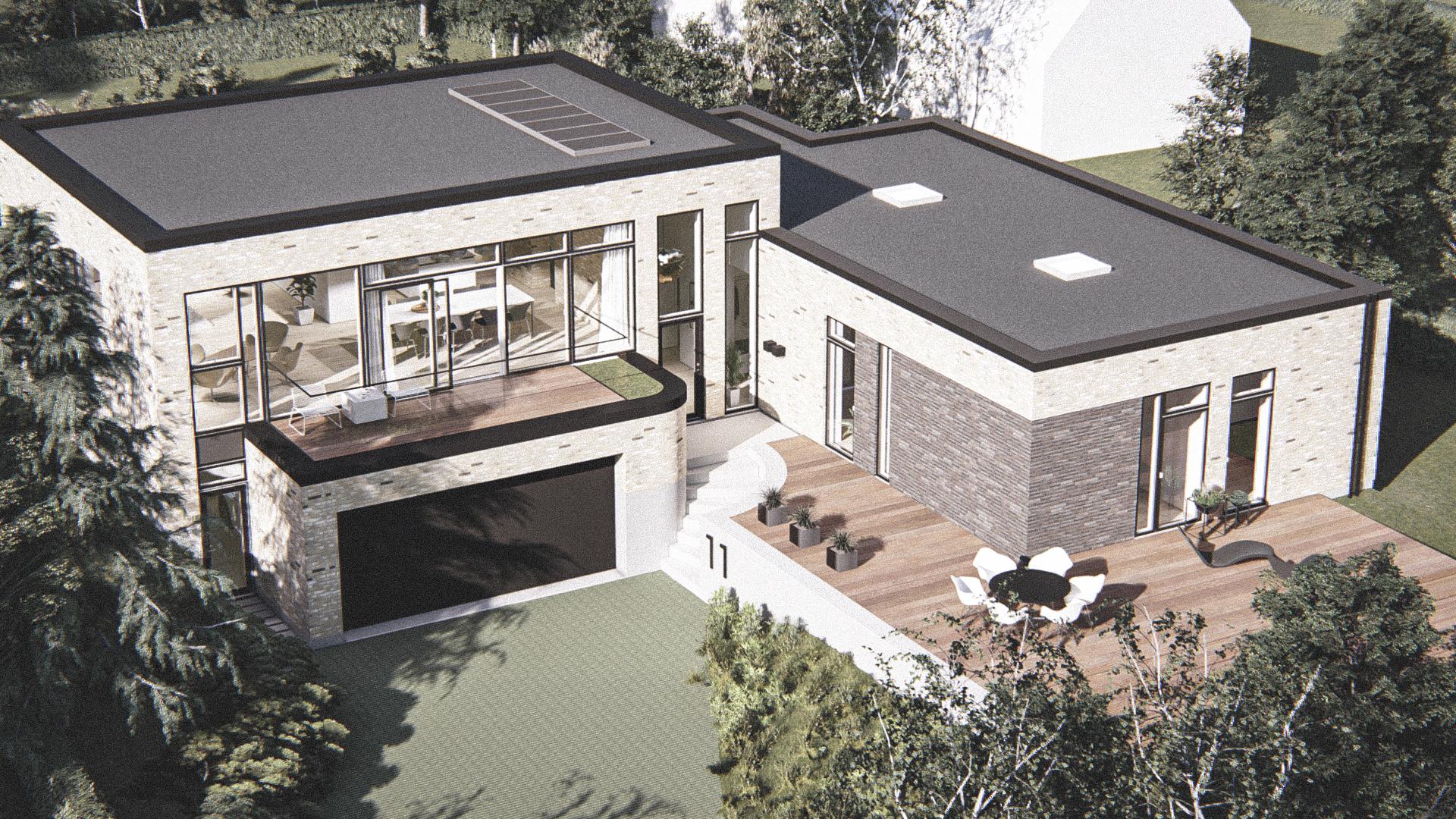 Billede af Dansk arkitekttegnet parterreplan villa af arkitektfirmaet m2plus, i Højbjerg på 248 kvartratmeter.