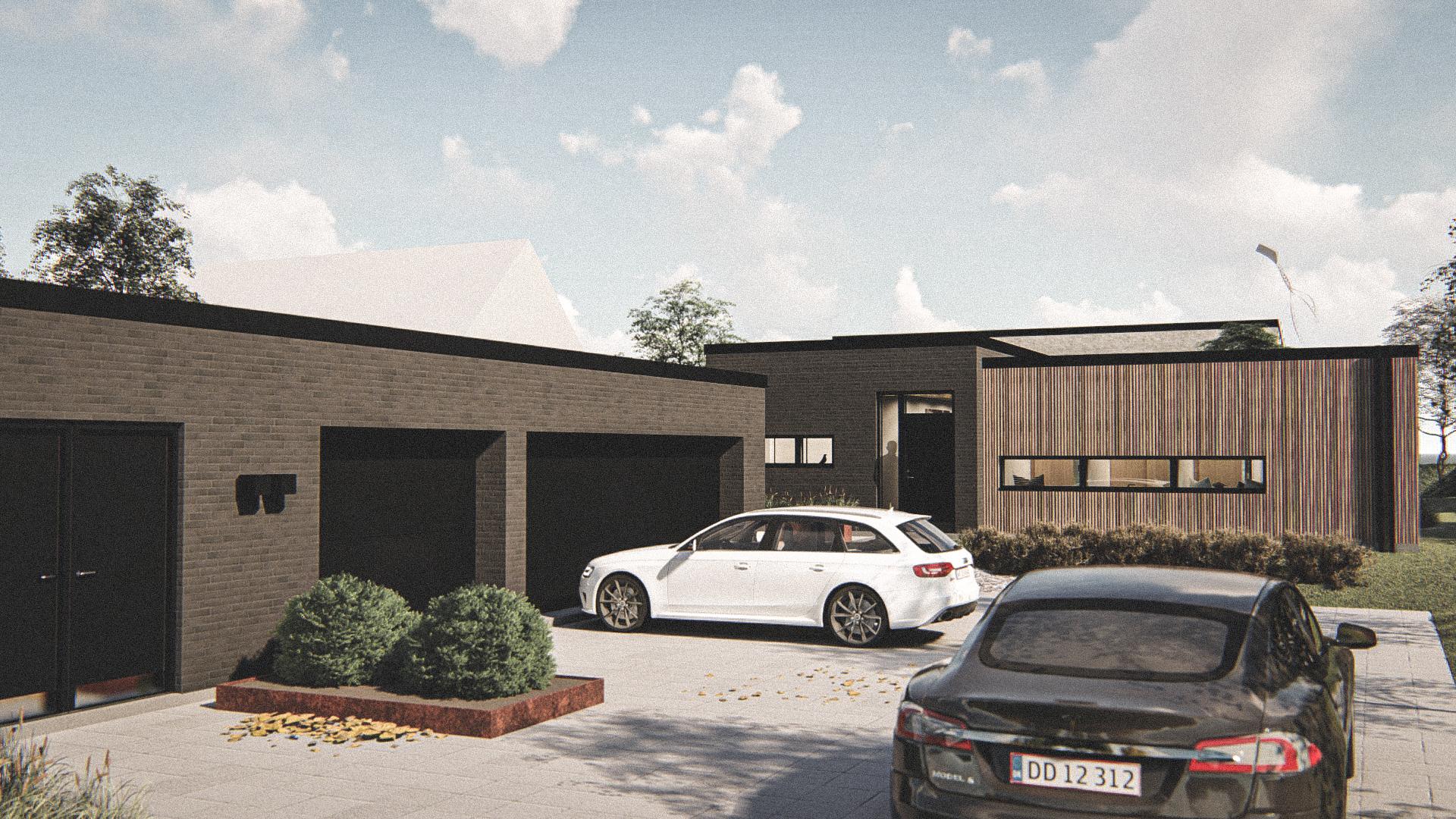 Billede af Dansk arkitekttegnet 1 plan villa af arkitektfirmaet m2plus, i Løgstrup på 190 kvartratmeter.