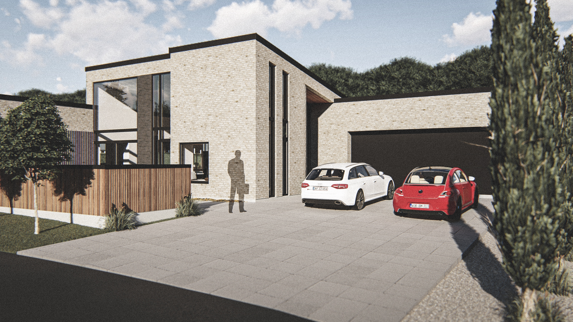 Billede af Dansk arkitekttegnet 1 plan villa af arkitektfirmaet m2plus, i Ringsted på 188 kvartratmeter.
