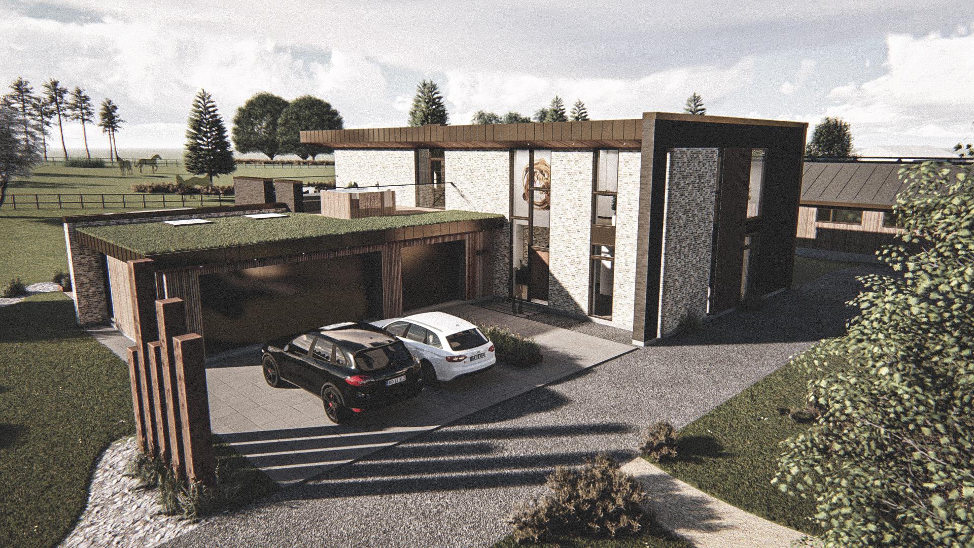Billede af Dansk arkitekttegnet 2 plan villa af arkitektfirmaet m2plus, i Sejs på 335 kvartratmeter.