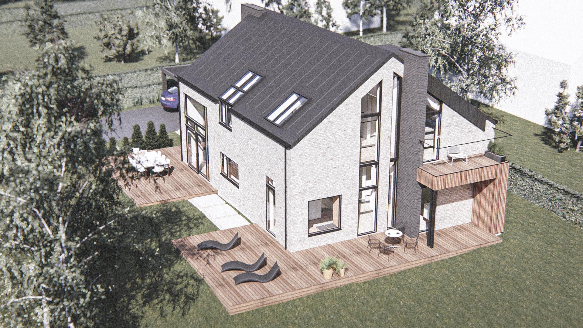 Billede af Dansk arkitekttegnet 3 plan villa af arkitektfirmaet m2plus, i Svendborg på 227 kvartratmeter.