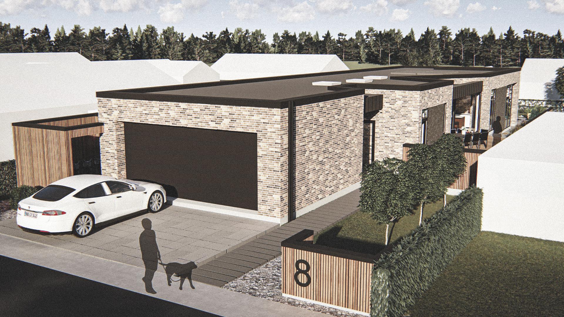 Billede af Dansk arkitekttegnet 1 plan villa af arkitektfirmaet m2plus, i Aalborg på 195 kvartratmeter.