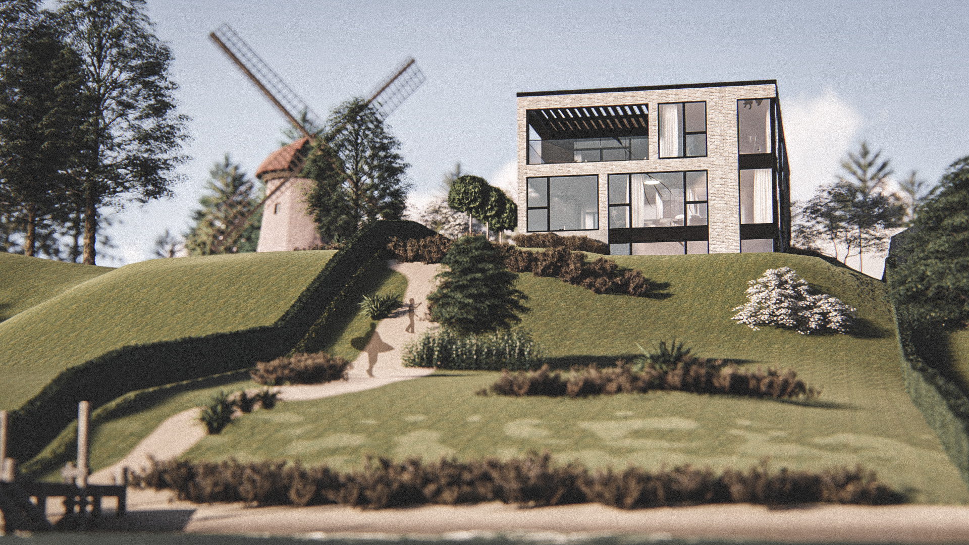 Billede af Dansk arkitekttegnet 3 plan villa af arkitektfirmaet m2plus, i Espergærde på 408 kvartratmeter.