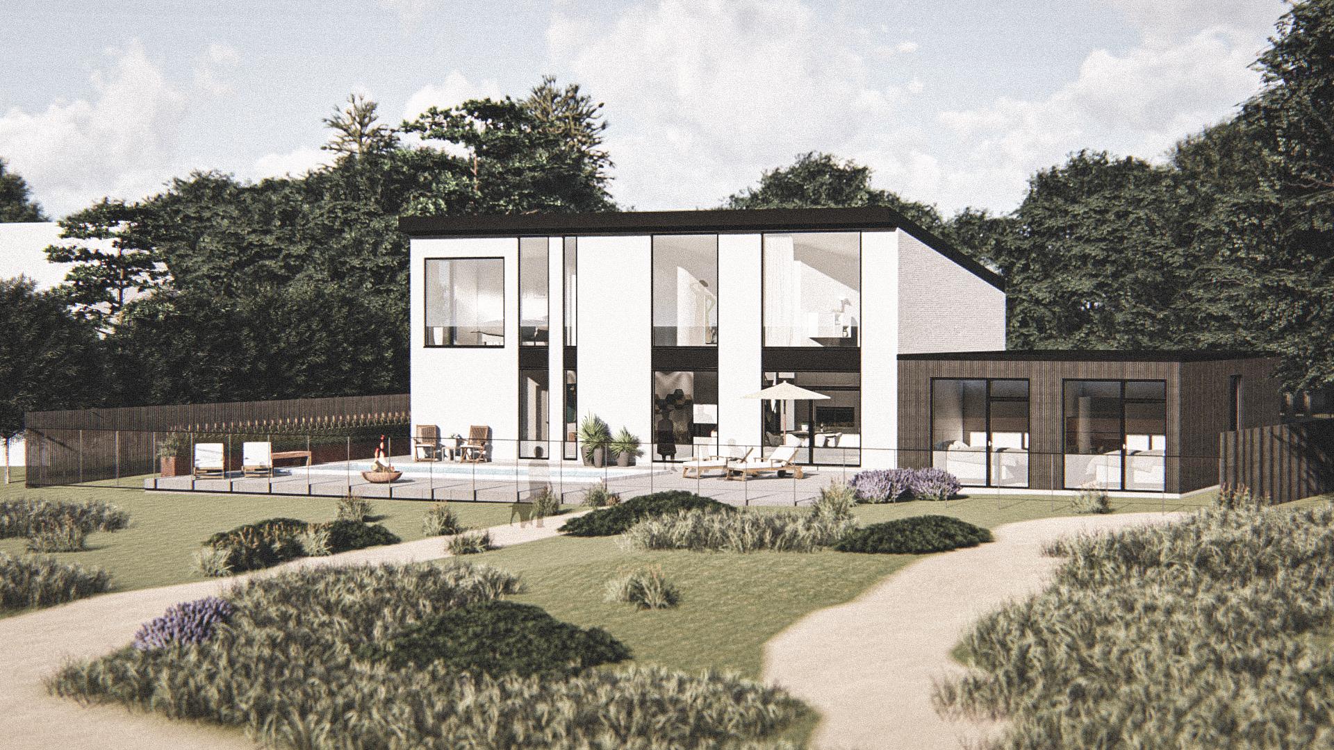 Billede af Dansk arkitekttegnet 2 plan villa af arkitektfirmaet m2plus, i Dronningmølle på 218 kvartratmeter.
