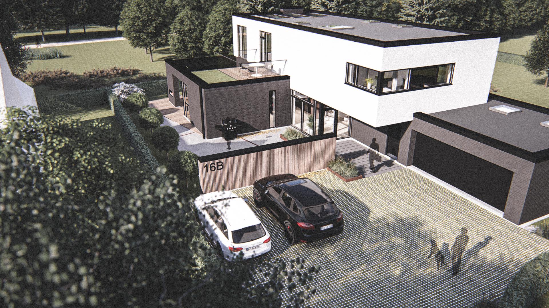 Billede af Dansk arkitekttegnet 3 plan villa af arkitektfirmaet m2plus, i Kongens Lyngby på 267 kvartratmeter.