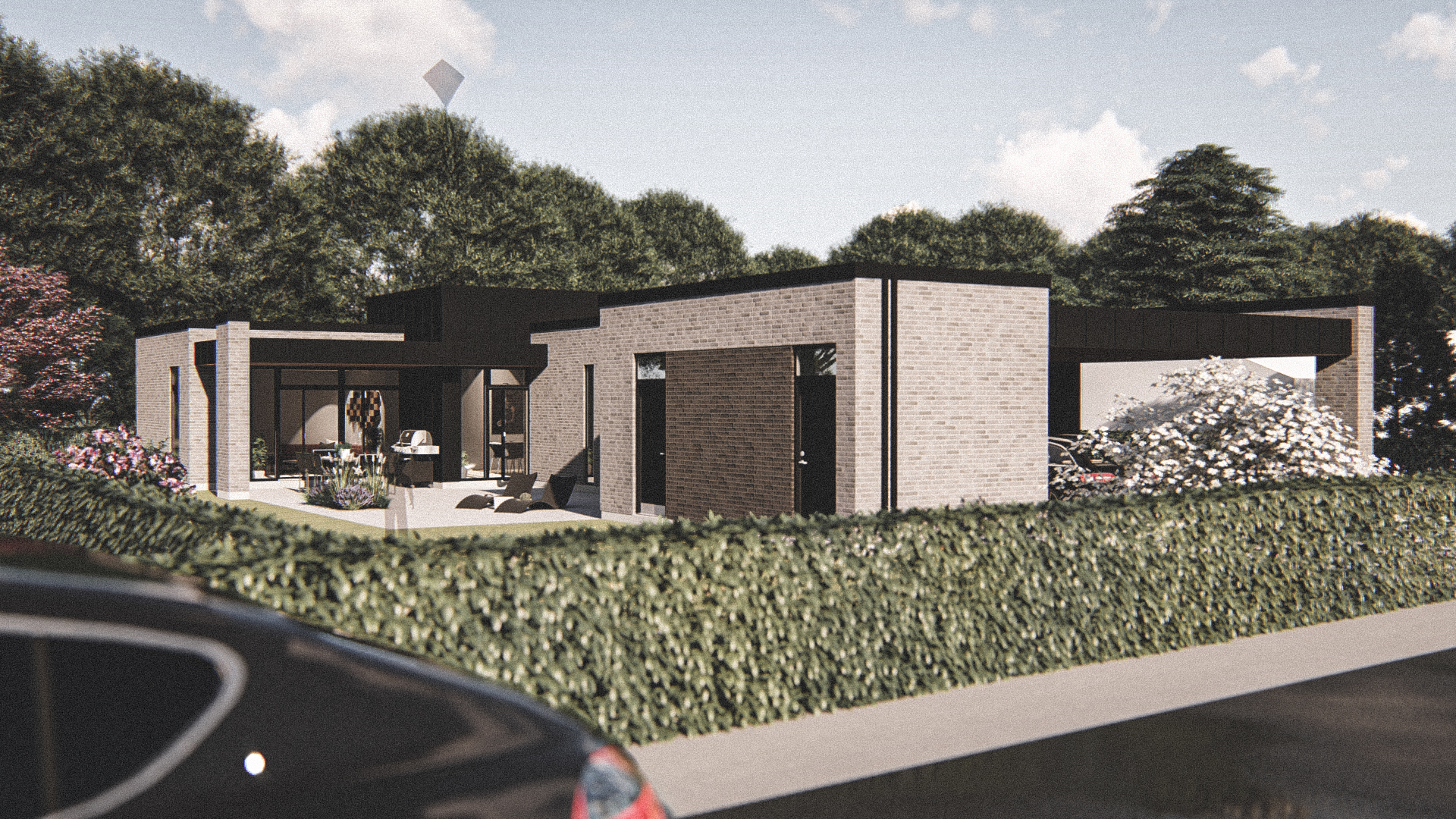 Billede af Dansk arkitekttegnet 1 plan villa af arkitektfirmaet m2plus, i Silkeborg på 180 kvartratmeter.