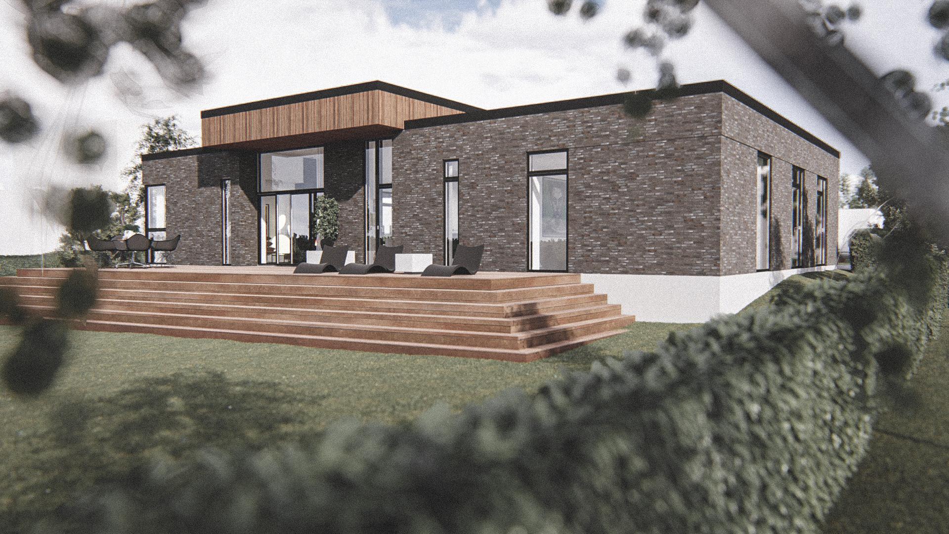 Billede af Dansk arkitekttegnet 1 plan villa af arkitektfirmaet m2plus, i Støvring på 199 kvartratmeter.