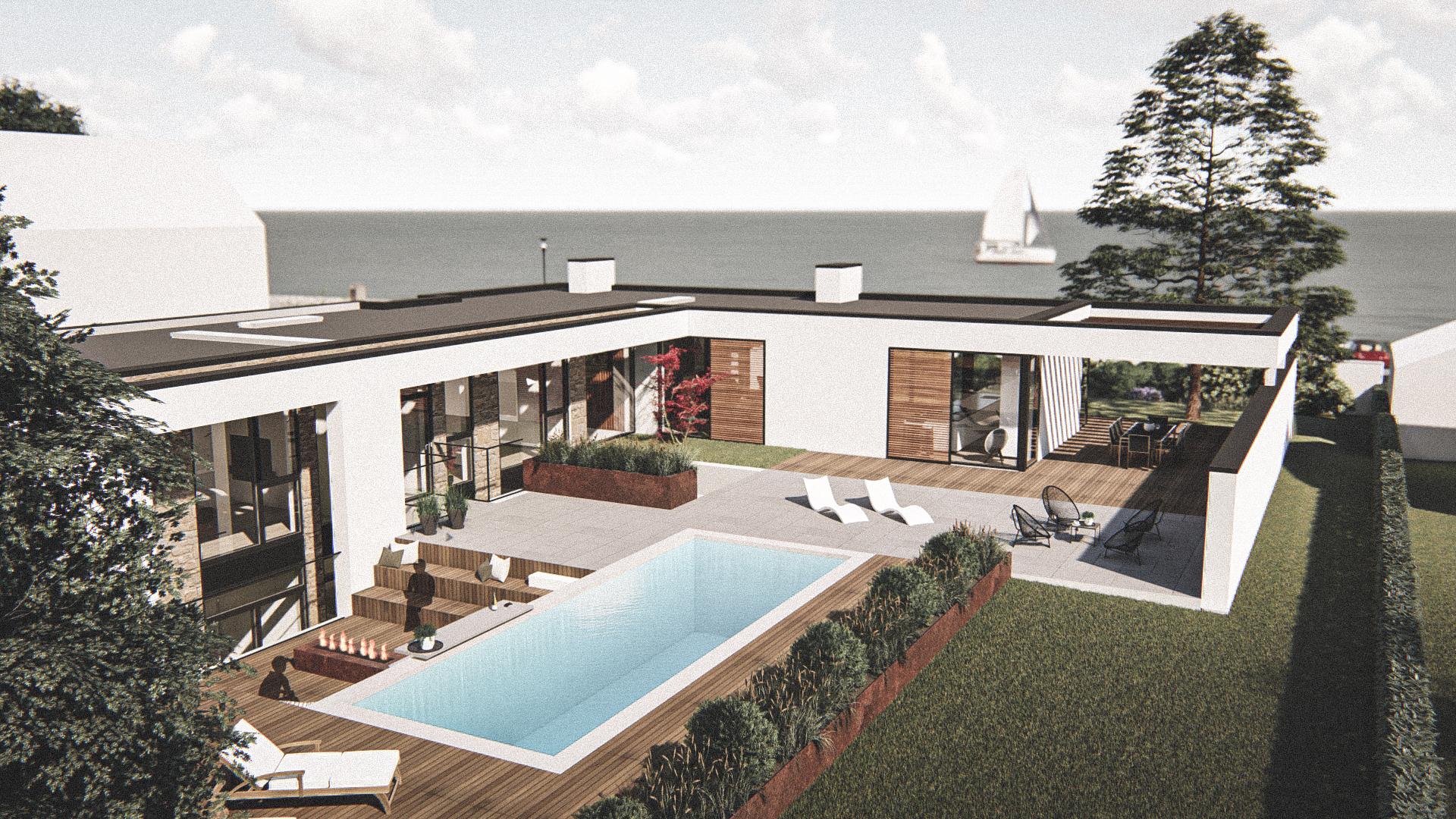 Billede af Dansk arkitekttegnet 2 plan villa af arkitektfirmaet m2plus, i Rungsted Kyst på 412 kvartratmeter.