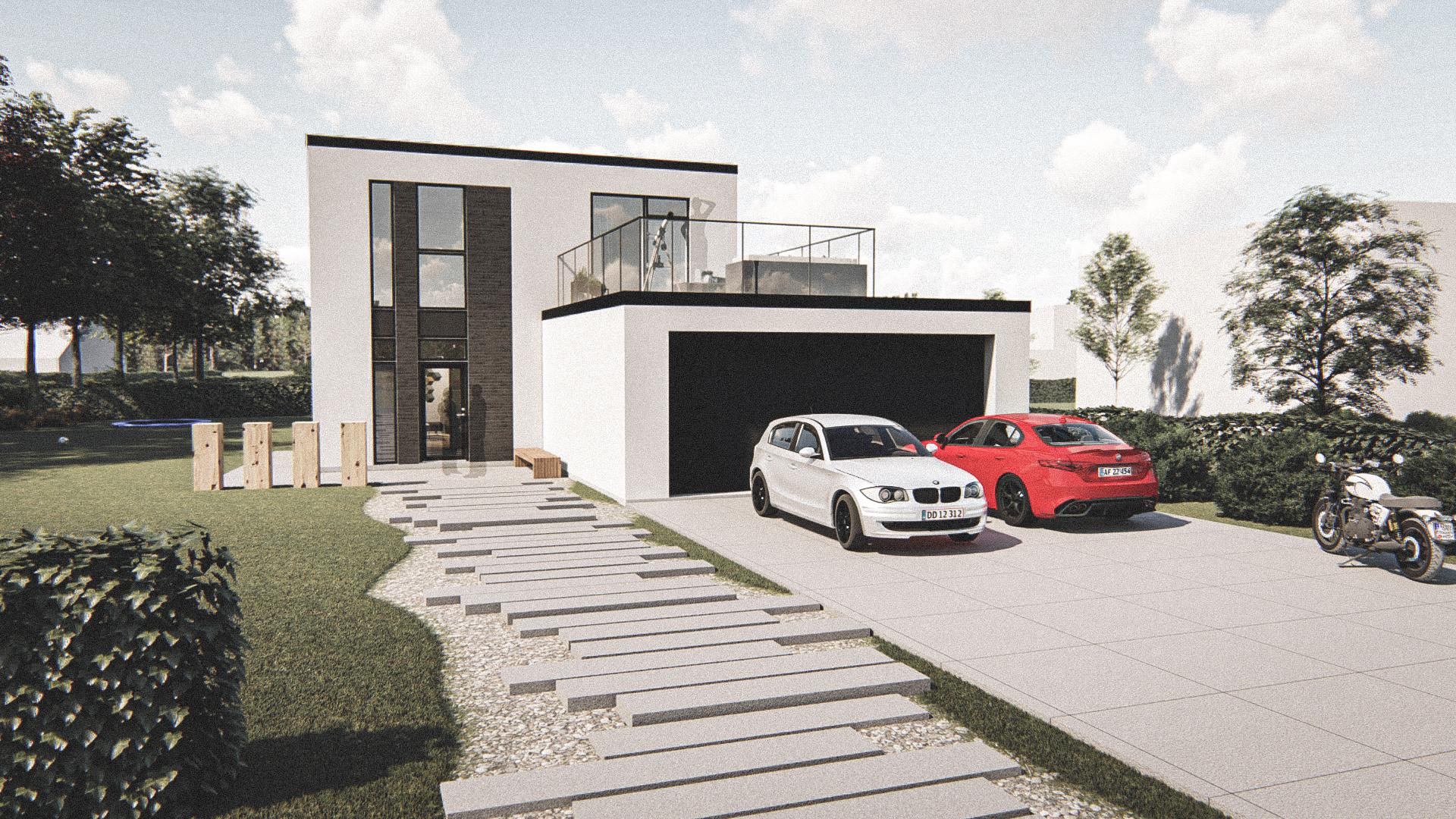 Billede af Dansk arkitekttegnet 2 plan villa af arkitektfirmaet m2plus, i Fredericia på 180 kvartratmeter.