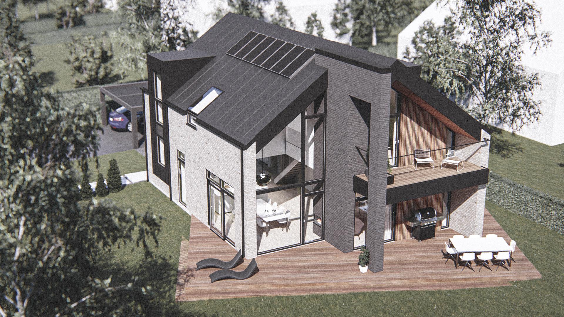 Billede af Dansk arkitekttegnet 2 plan villa af arkitektfirmaet m2plus, i Svendborg på 201 kvartratmeter.