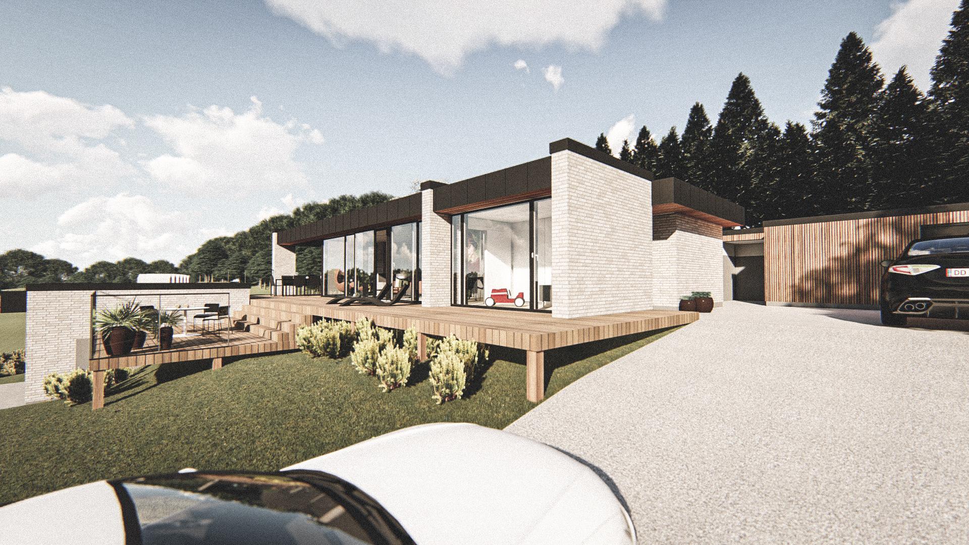 Billede af Dansk arkitekttegnet 1 plan villa af arkitektfirmaet m2plus, i Rønde på 119 kvartratmeter.