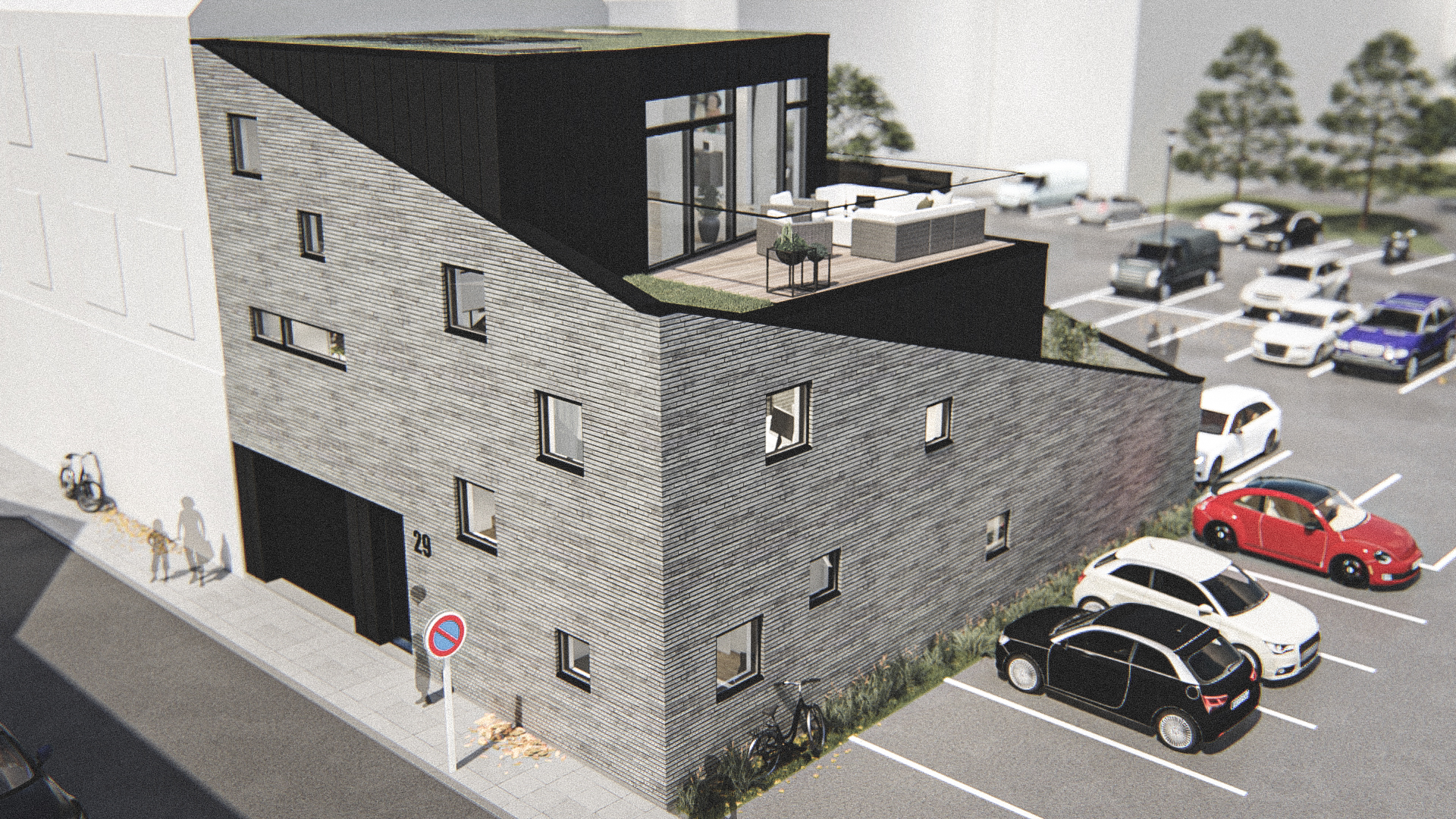 Billede af Dansk arkitekttegnet 3 plan villa af arkitektfirmaet m2plus, i Aalborg på 238 kvartratmeter.