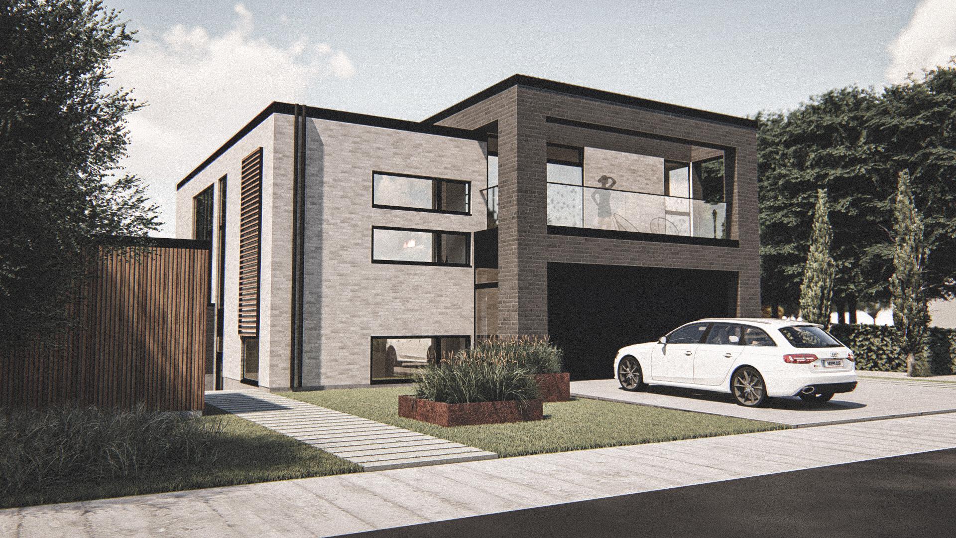 Billede af Dansk arkitekttegnet 3 plan villa af arkitektfirmaet m2plus, i Holte på 338 kvartratmeter.