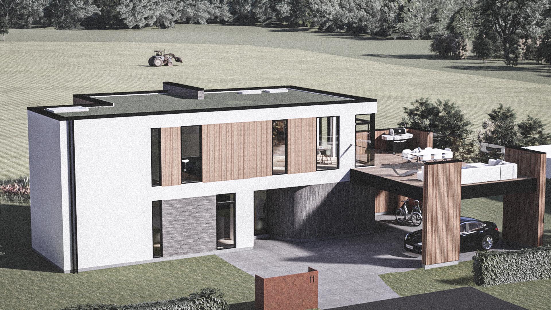 Billede af Dansk arkitekttegnet 2 plan villa af arkitektfirmaet m2plus, i Thisted på 221 kvartratmeter.