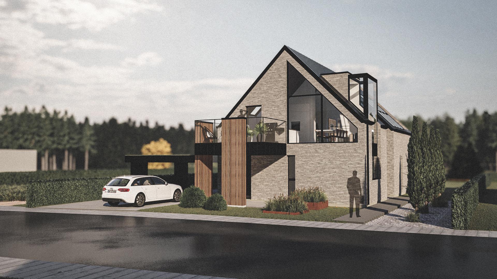 Billede af Dansk arkitekttegnet 2 plan villa af arkitektfirmaet m2plus, i Kolding på 202 kvartratmeter.