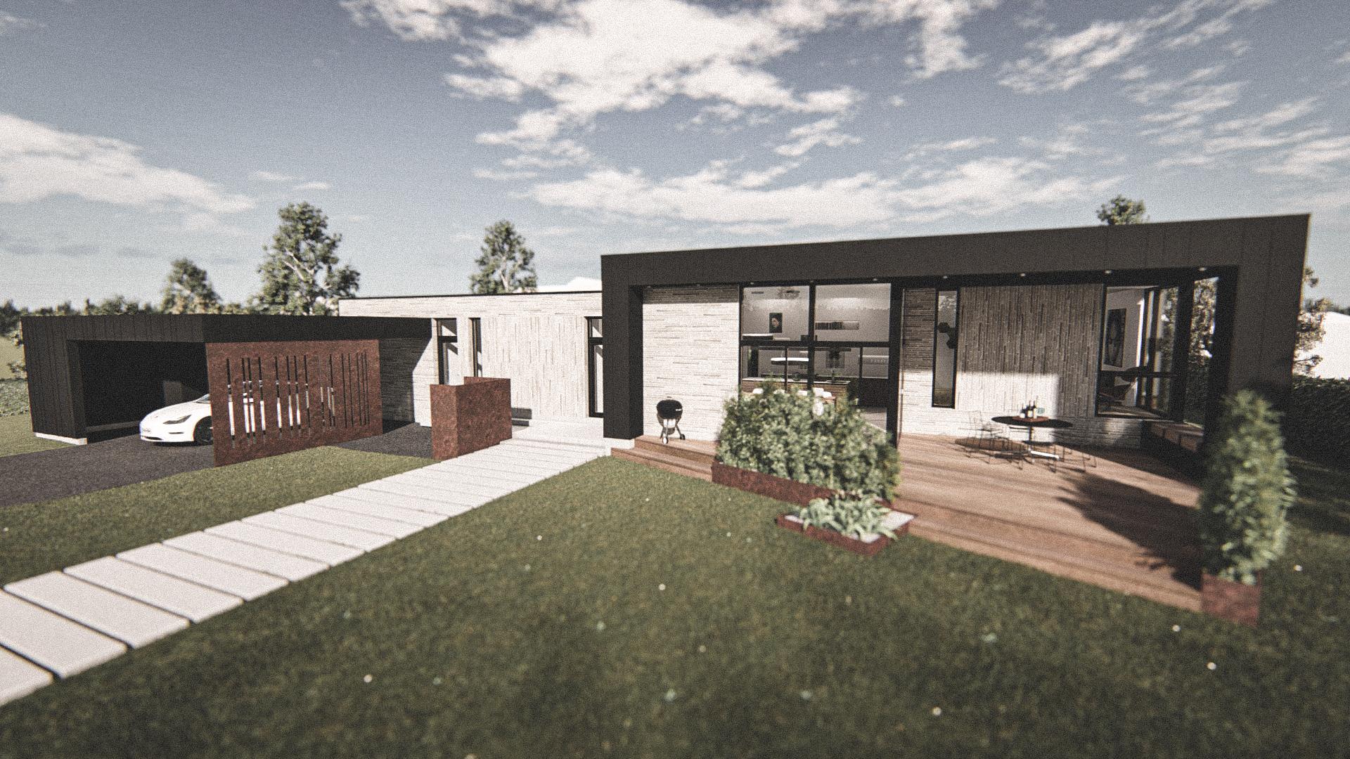 Billede af Dansk arkitekttegnet 1 plan villa af arkitektfirmaet m2plus, i Svendborg på 190 kvartratmeter.