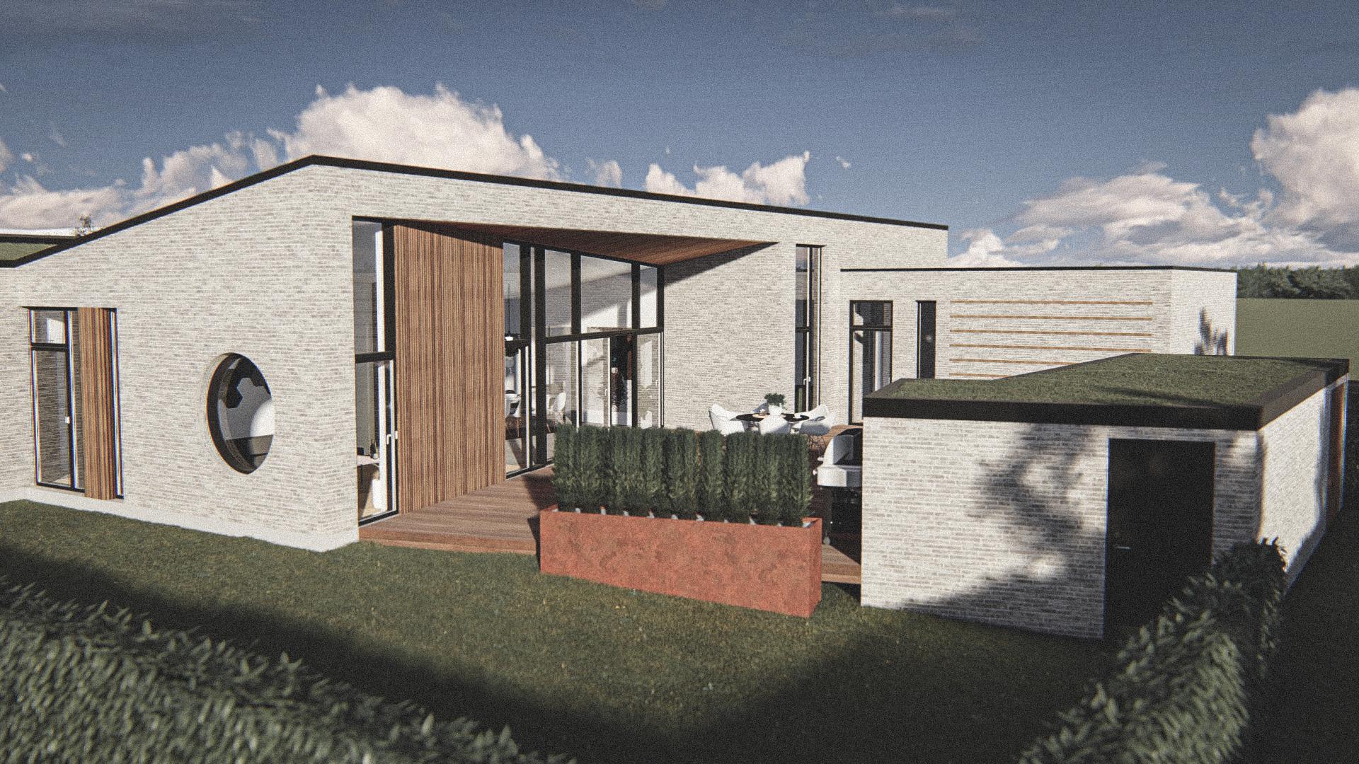 Billede af Dansk arkitekttegnet 1 plan villa af arkitektfirmaet m2plus, i Holstebro på 200 kvartratmeter.
