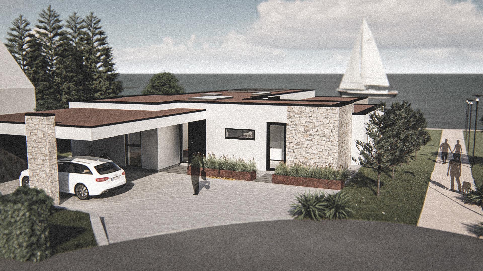 Billede af Dansk arkitekttegnet 1 plan villa af arkitektfirmaet m2plus, i Holte på 261 kvartratmeter.
