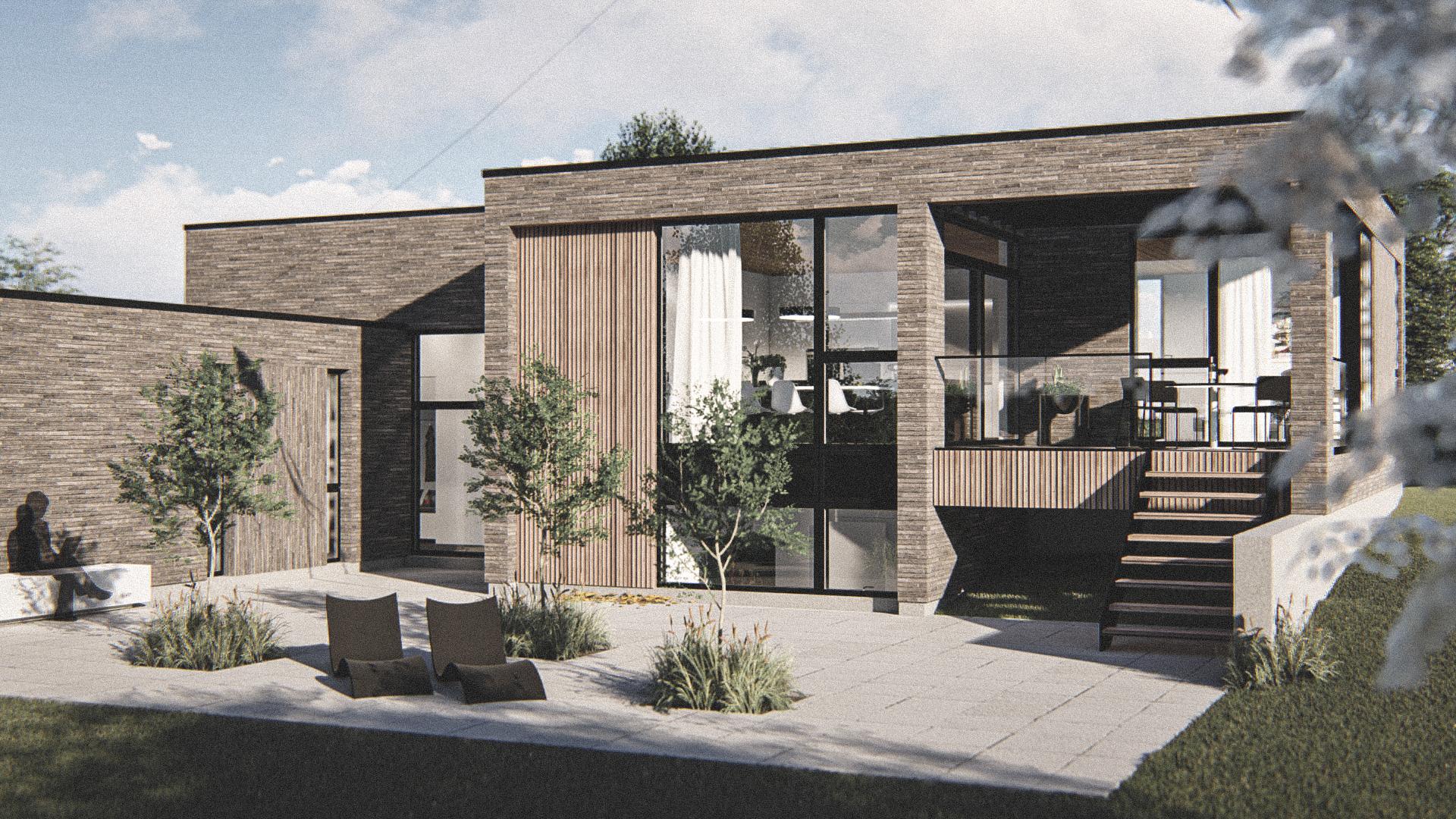 Billede af Dansk arkitekttegnet parterreplan villa af arkitektfirmaet m2plus, i Horsens på 252 kvartratmeter.