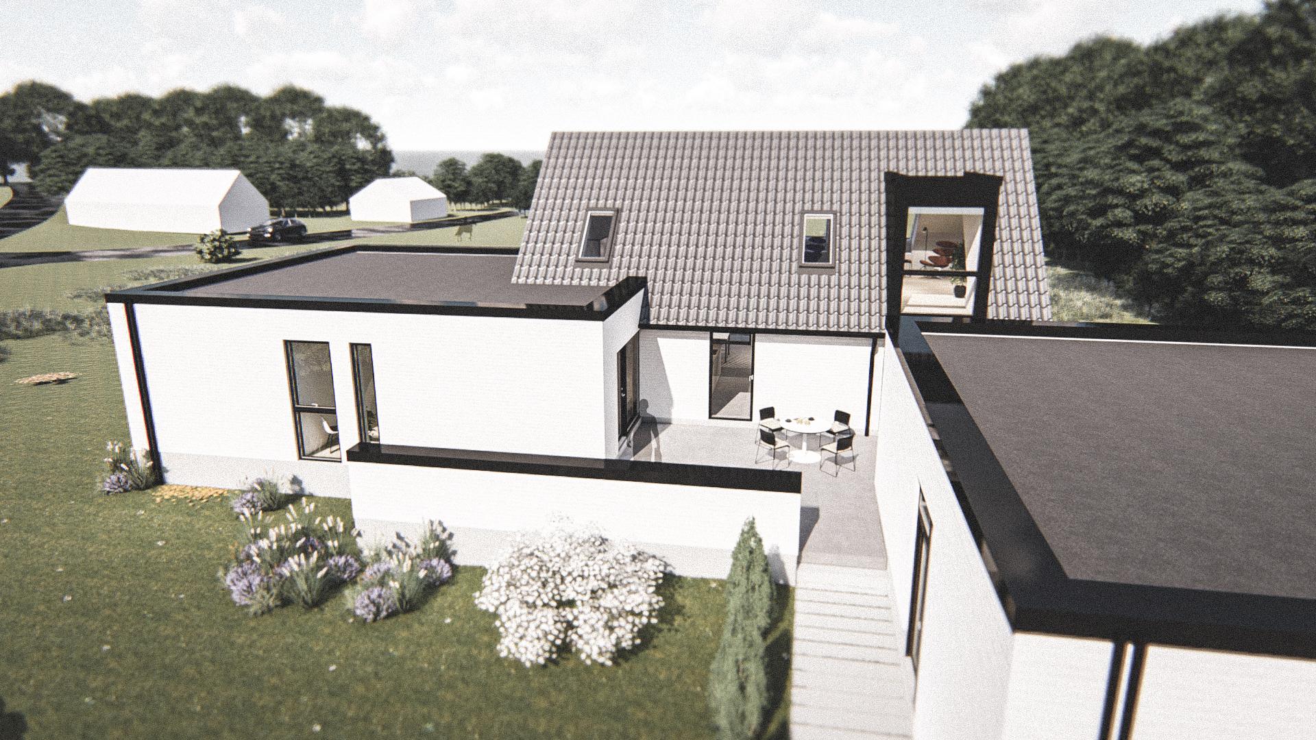 Billede af Dansk arkitekttegnet 3 plan villa af arkitektfirmaet m2plus, i Hanstholm på 230 kvartratmeter.