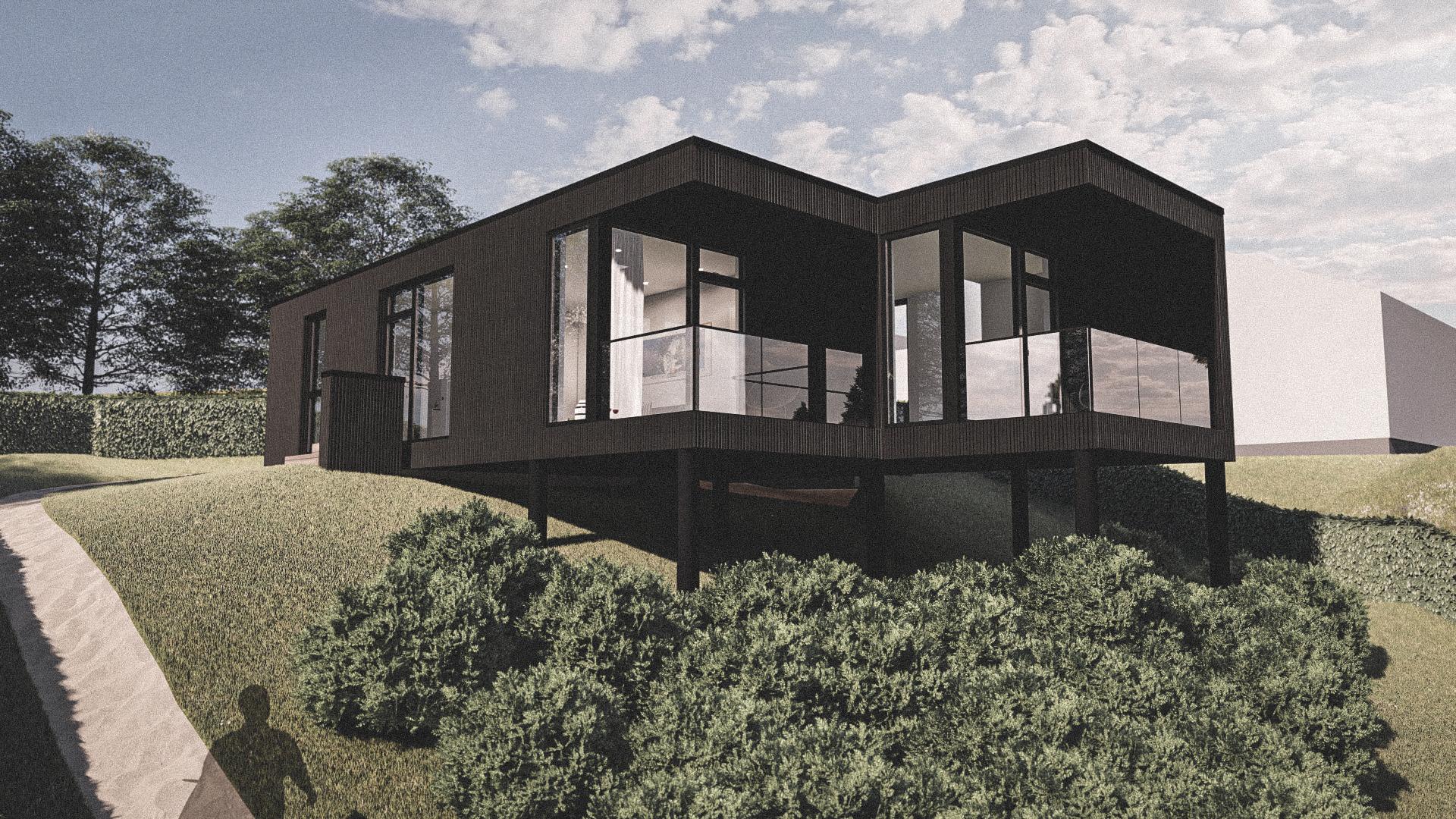 Billede af Dansk arkitekttegnet 1 plan villa af arkitektfirmaet m2plus, i Helsingør på 80 kvartratmeter.