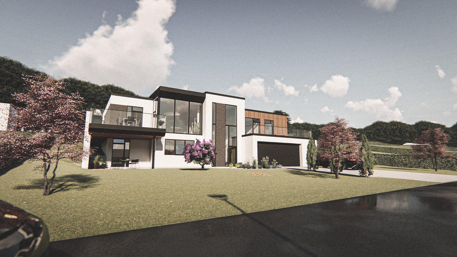 Billede af Dansk arkitekttegnet 2 plan villa af arkitektfirmaet m2plus, i Hinnerup på 334 kvartratmeter.