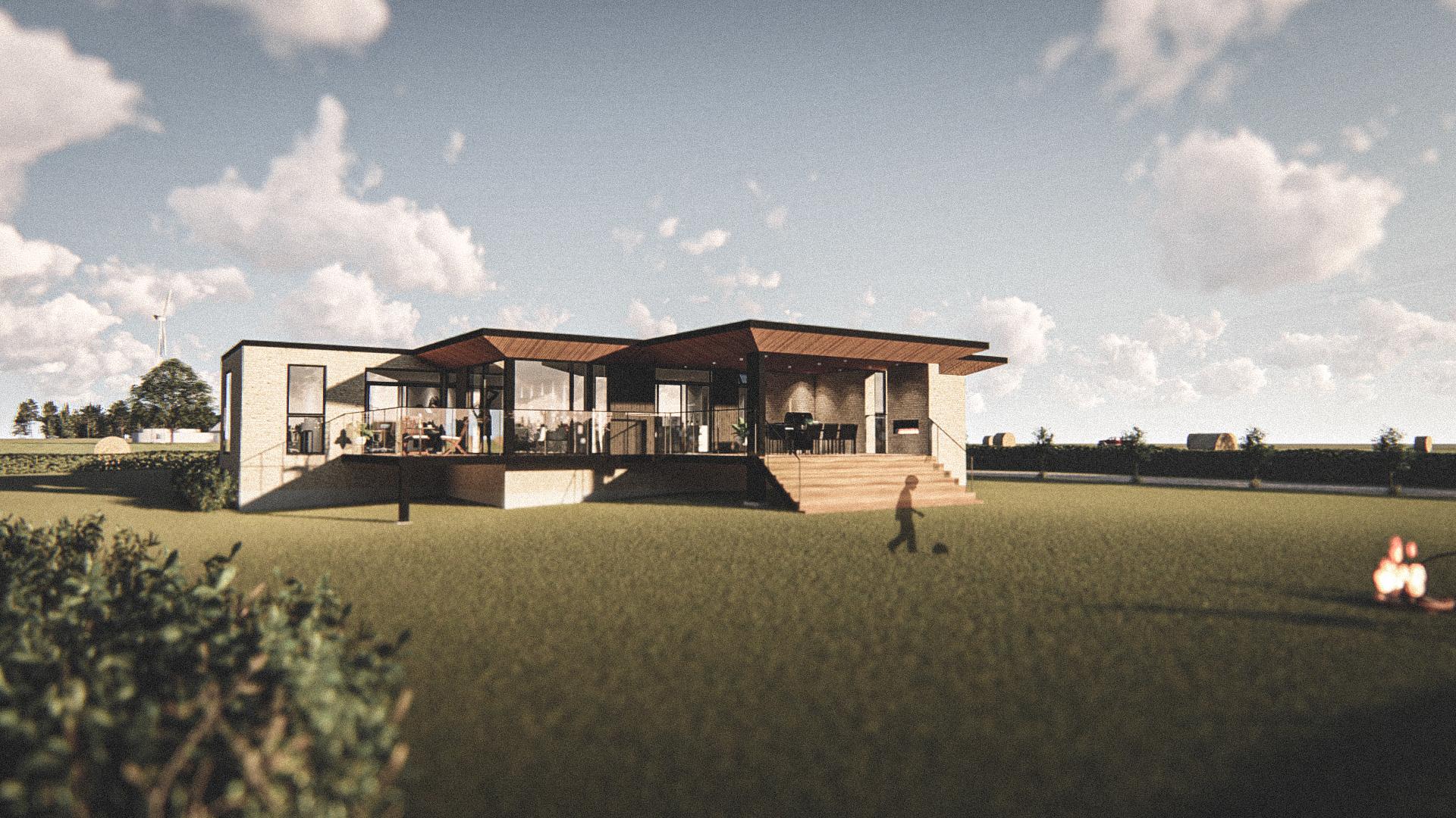 Billede af Dansk arkitekttegnet 1 plan villa af arkitektfirmaet m2plus, i Hirtshals på 263 kvartratmeter.