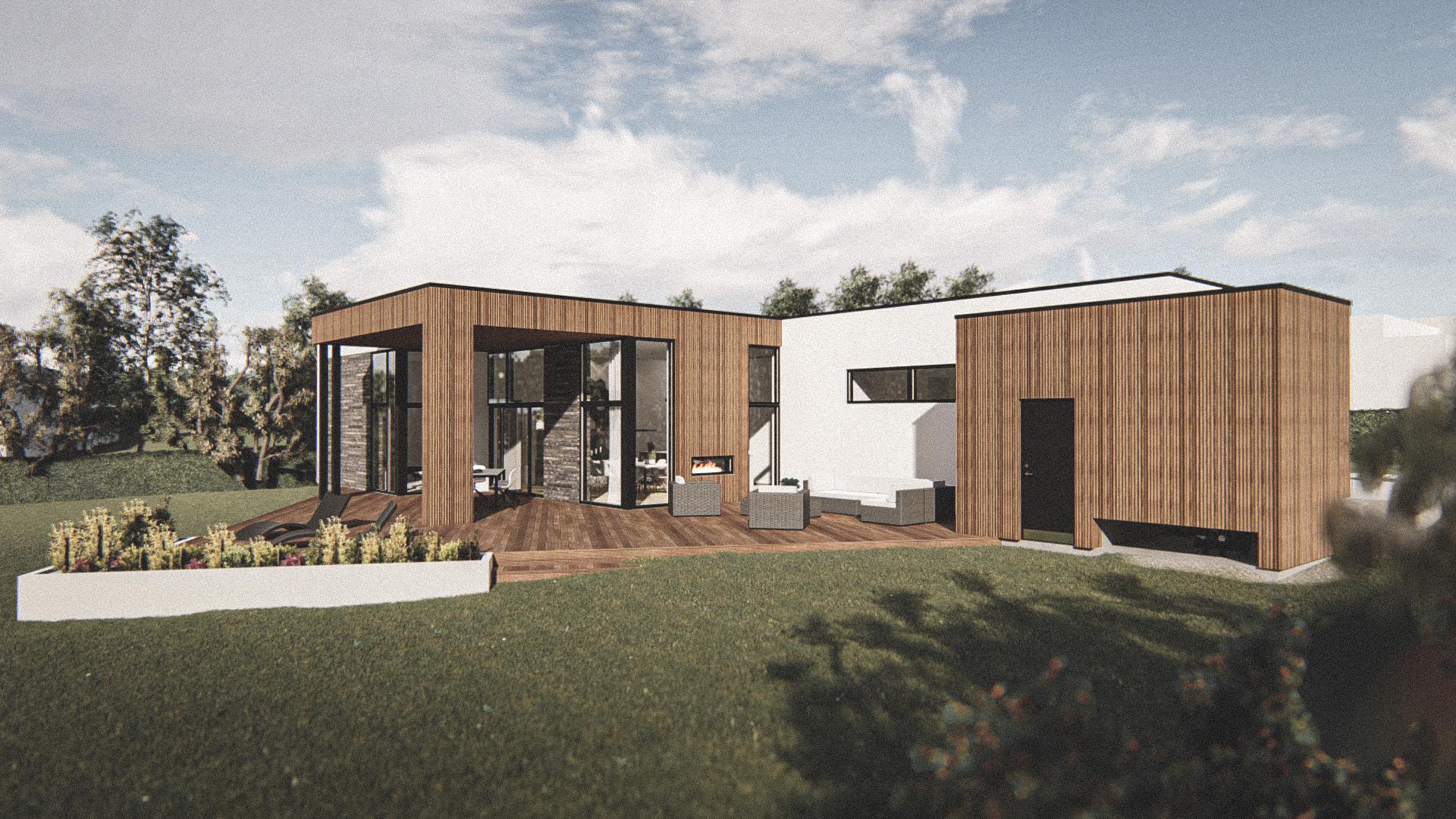 Billede af Dansk arkitekttegnet 1 plan villa af arkitektfirmaet m2plus, i Odder på 177 kvartratmeter.