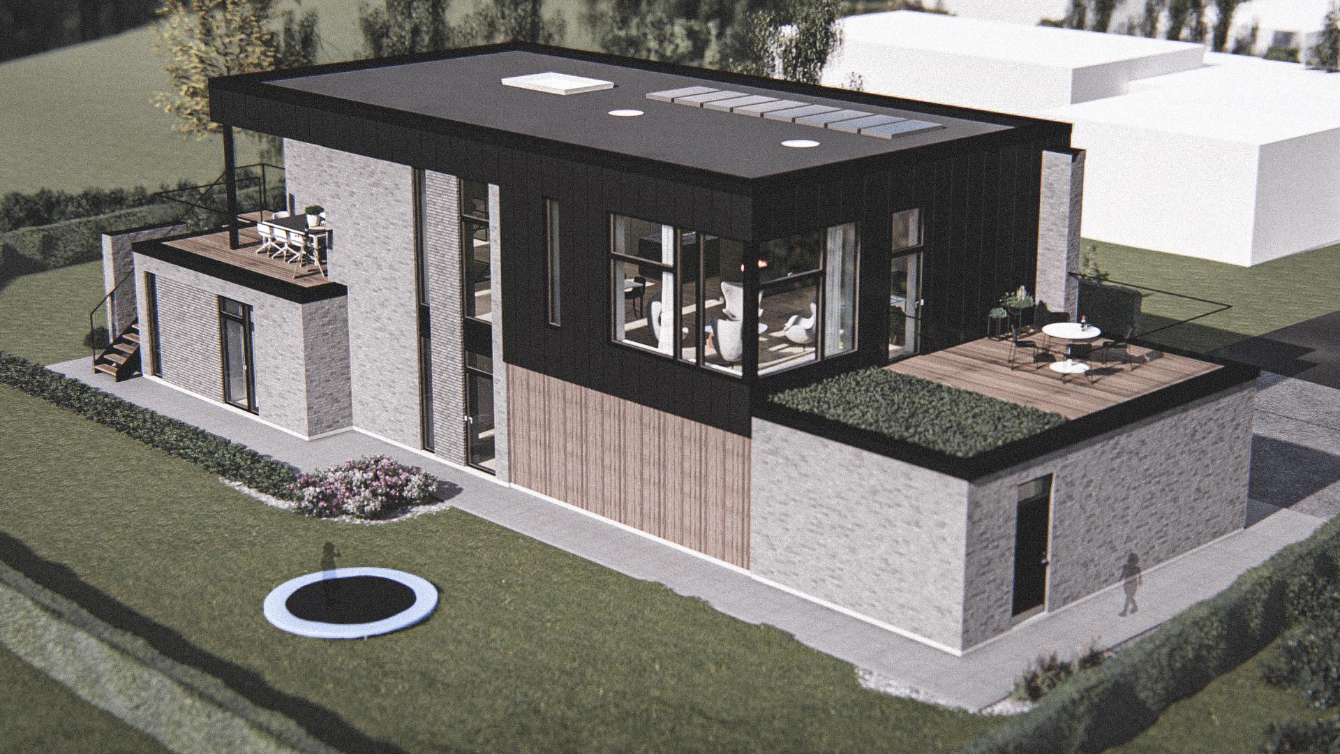 Billede af Dansk arkitekttegnet 2 plan villa af arkitektfirmaet m2plus, i Silkeborg på 404 kvartratmeter.