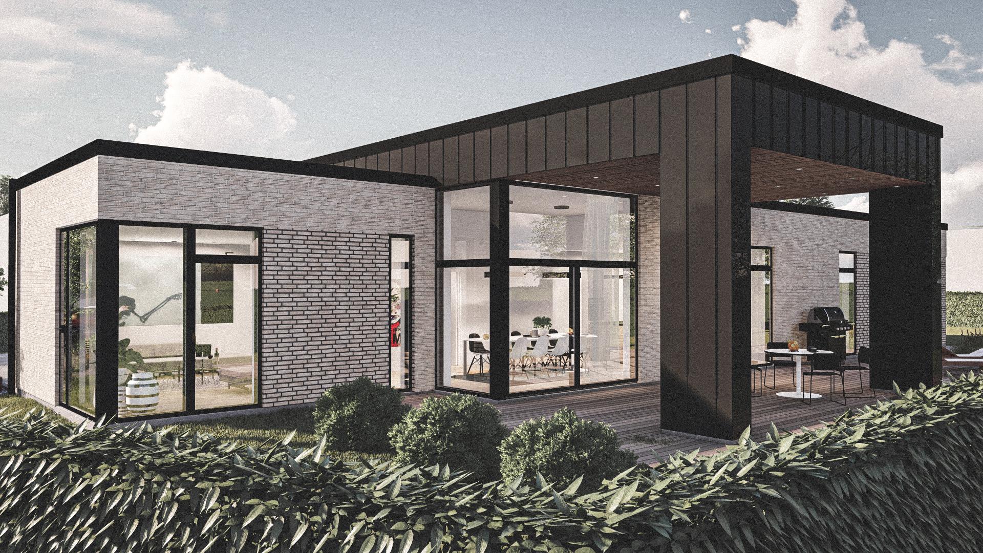 Billede af Dansk arkitekttegnet 1 plan villa af arkitektfirmaet m2plus, i Viborg på 224 kvartratmeter.