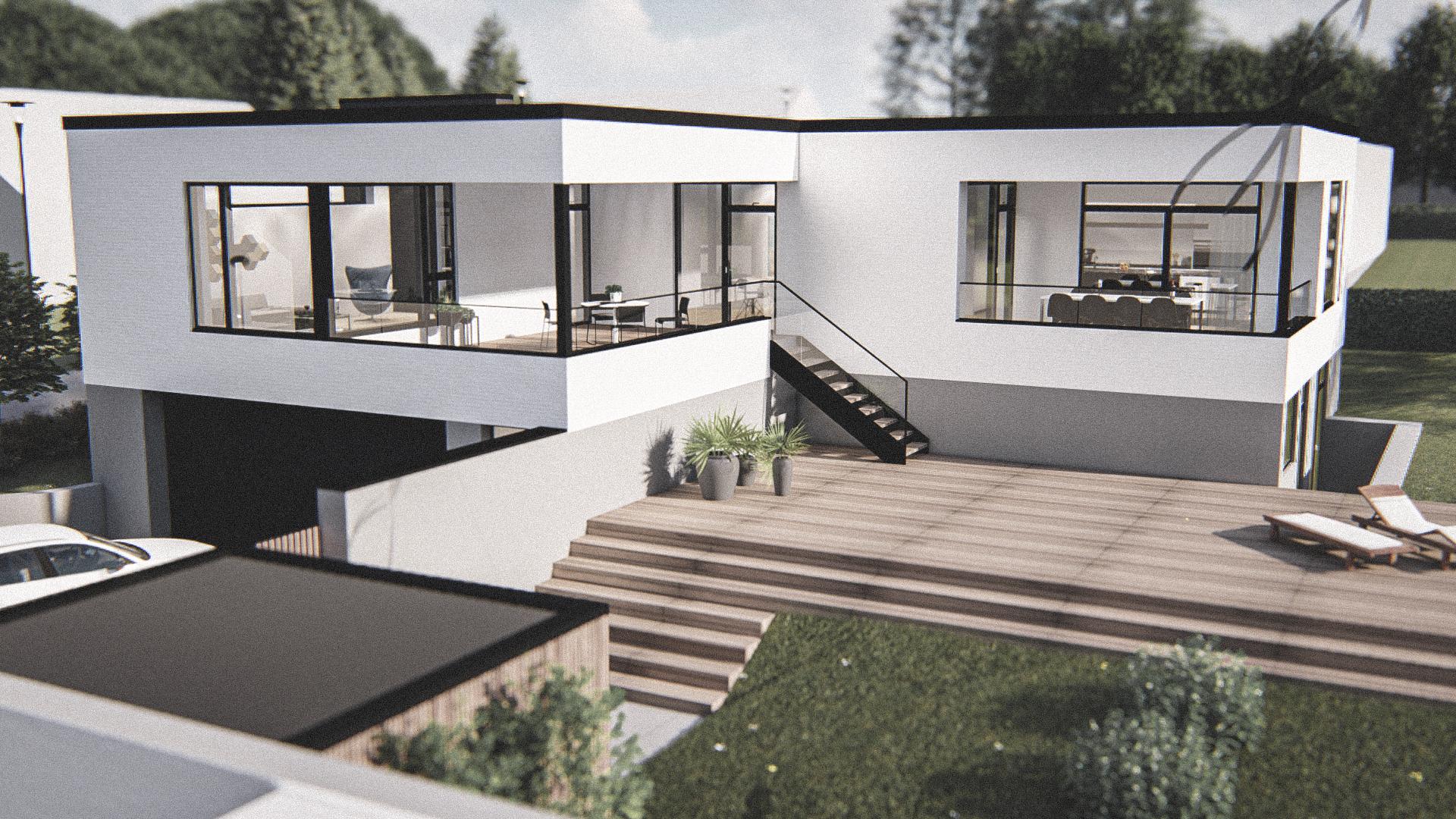 Billede af Dansk arkitekttegnet 1 plan villa af arkitektfirmaet m2plus, i Viborg på 315 kvartratmeter.