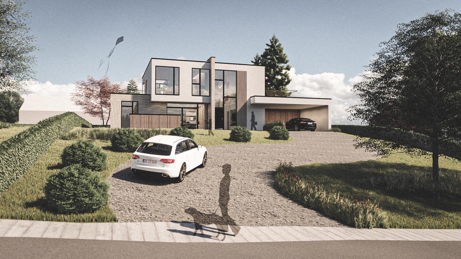 Billede af Dansk arkitekttegnet 2 plan villa af arkitektfirmaet m2plus, i Højbjerg på 265 kvartratmeter.