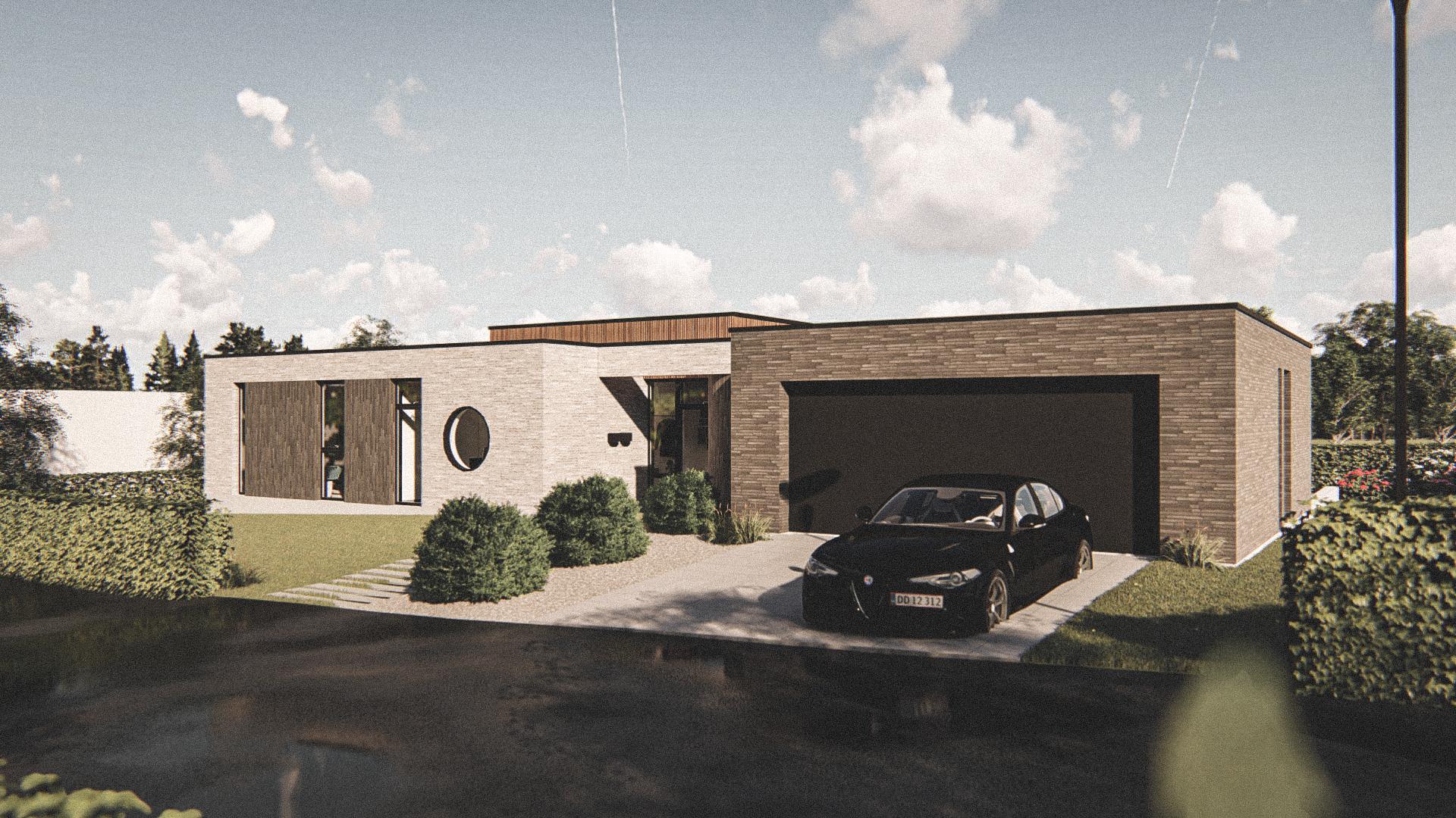 Billede af Dansk arkitekttegnet 1 plan villa af arkitektfirmaet m2plus, i Klarup på 212 kvartratmeter.