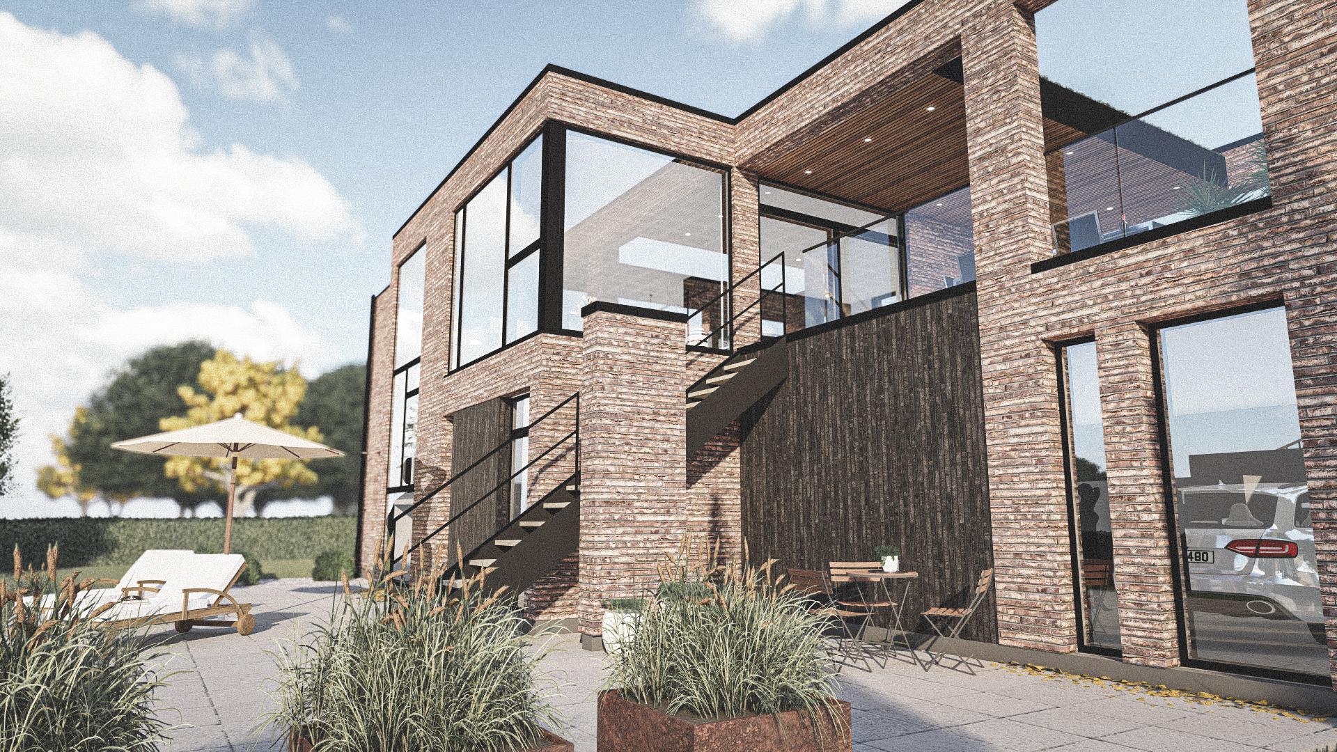 Billede af Dansk arkitekttegnet 2 plan villa af arkitektfirmaet m2plus, i Middelfart på 220 kvartratmeter.