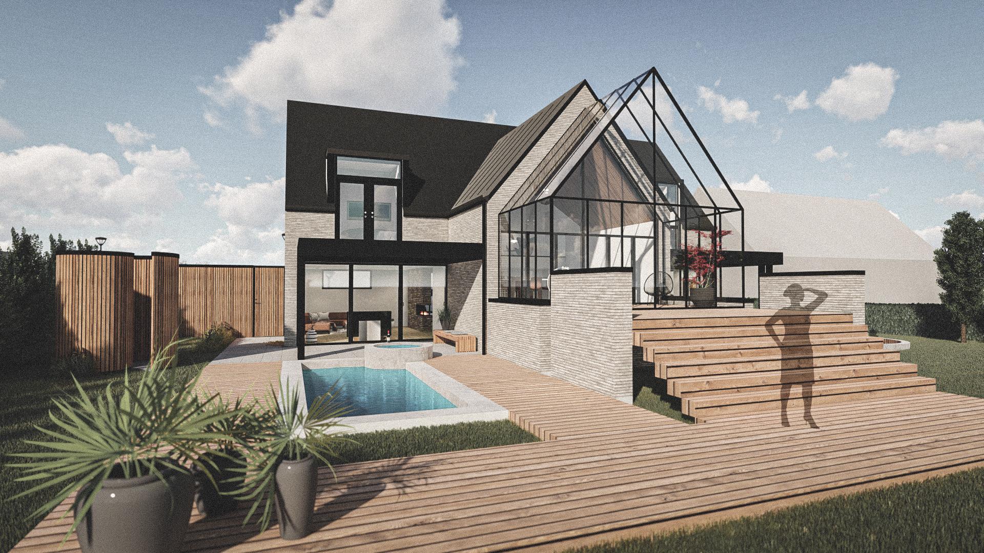 Billede af Dansk arkitekttegnet 2 plan villa af arkitektfirmaet m2plus, i Brøndby Strand på 326 kvartratmeter.