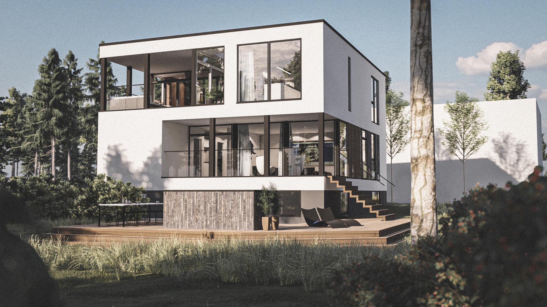 Billede af Dansk arkitekttegnet 2 plan villa af arkitektfirmaet m2plus, i Børkop på 332 kvartratmeter.