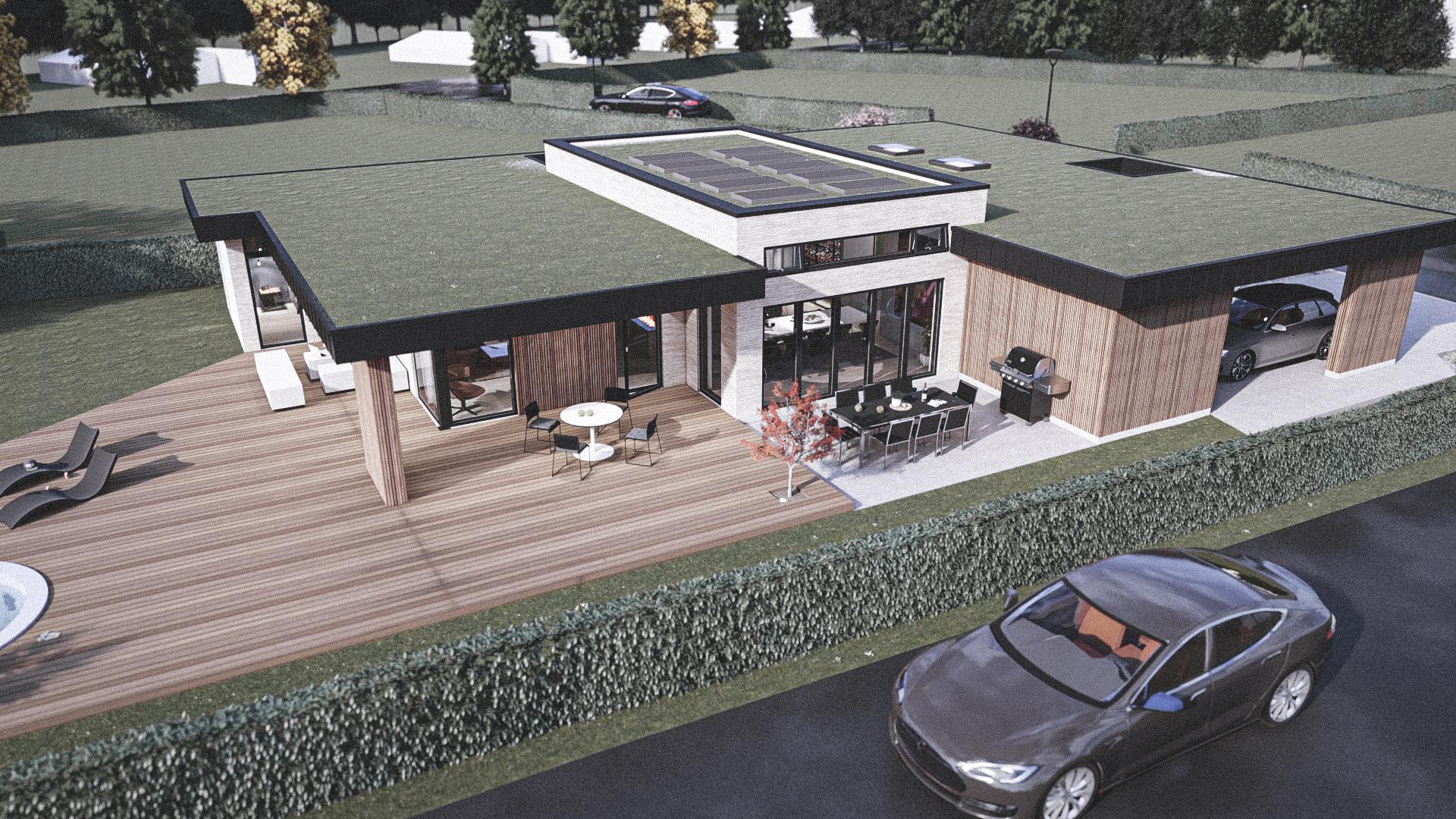 Billede af Dansk arkitekttegnet 1 plan villa af arkitektfirmaet m2plus, i Hornbæk på 210 kvartratmeter.