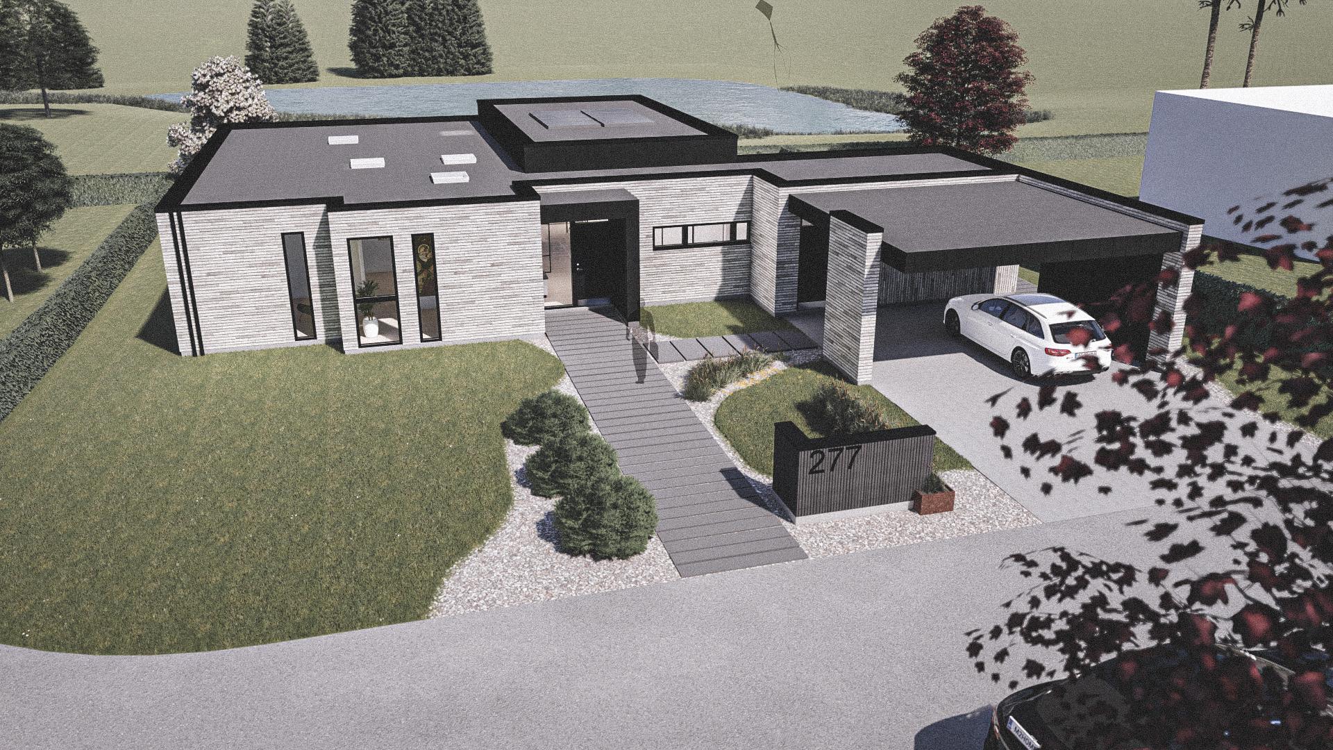 Billede af Dansk arkitekttegnet 1 plan villa af arkitektfirmaet m2plus, i Støvring på 185 kvartratmeter.
